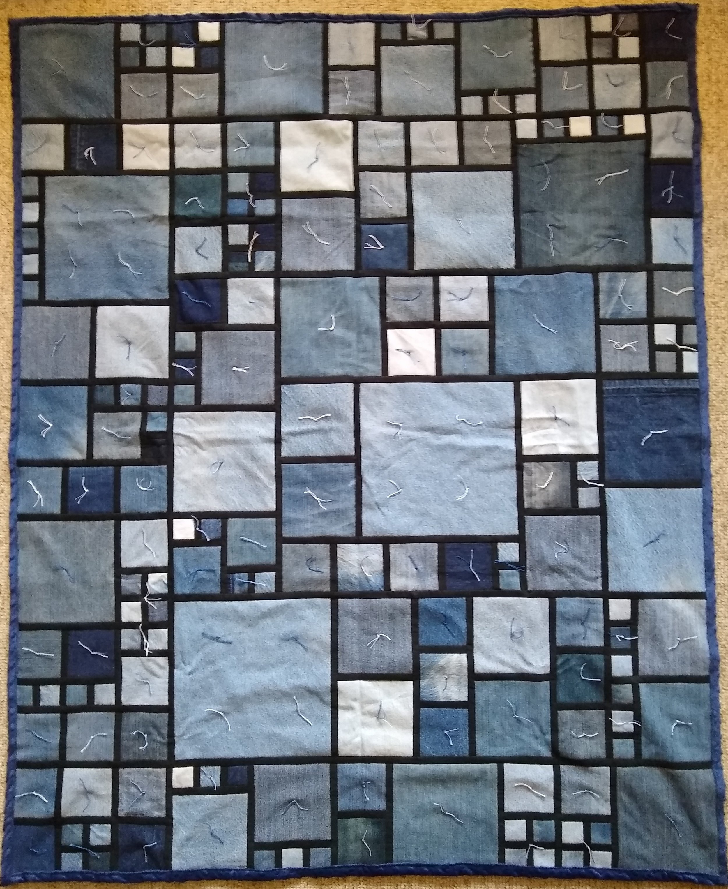 """Stained Glass Denim Comforter, Pieced & Knotted, donated anonymously, 53 x 64"""""""