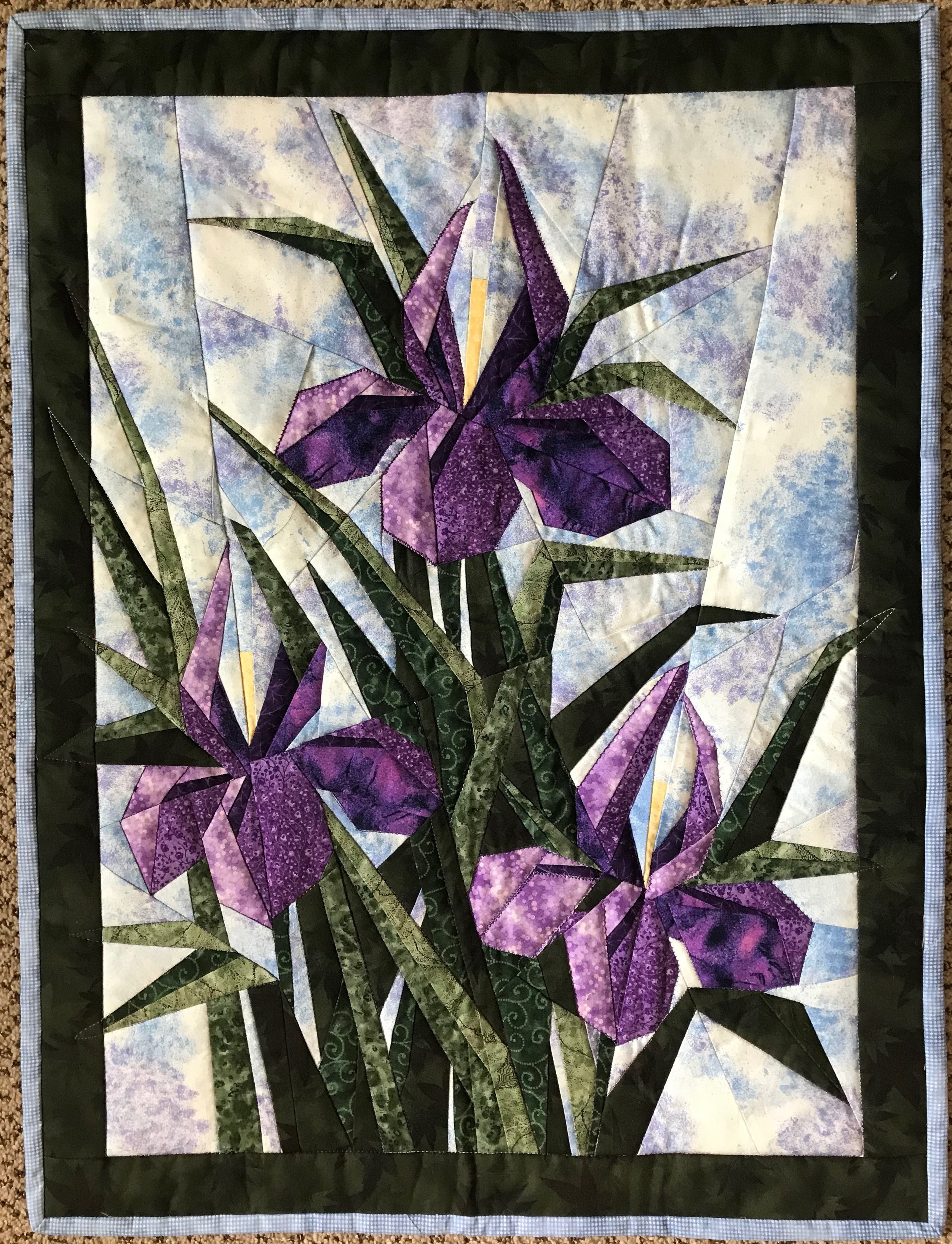 """Three Iris Flowers, Pieced, Machine Appliquéd & Quilted, donated anonymously,  21 x 29"""""""