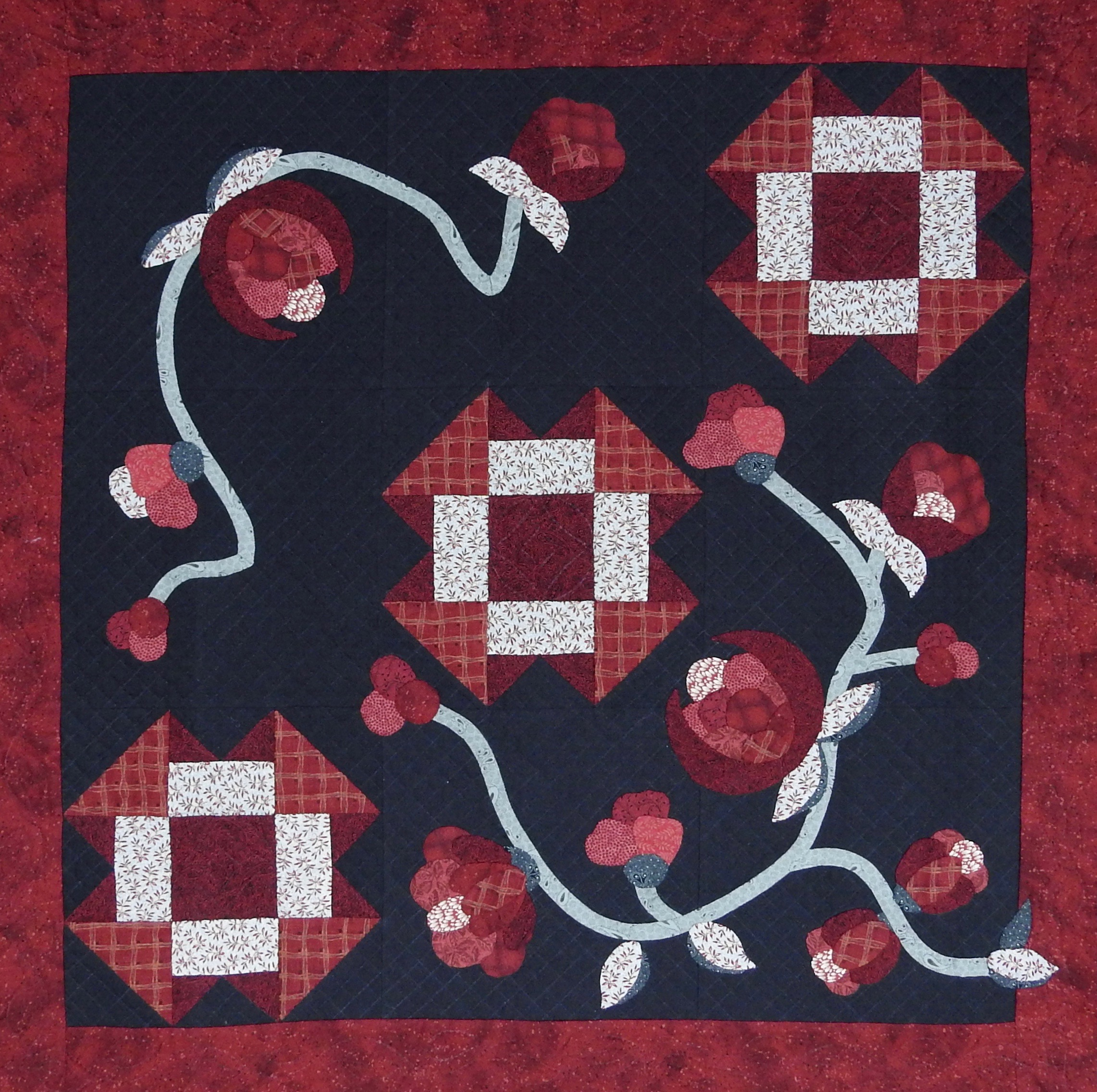 """Yours Truly, Designed & Pieced by Helen Glick, Appliquéd & Quilted by Elaine Frey, donated by Elaine Frey & Helen Glick, 31 x 31"""""""