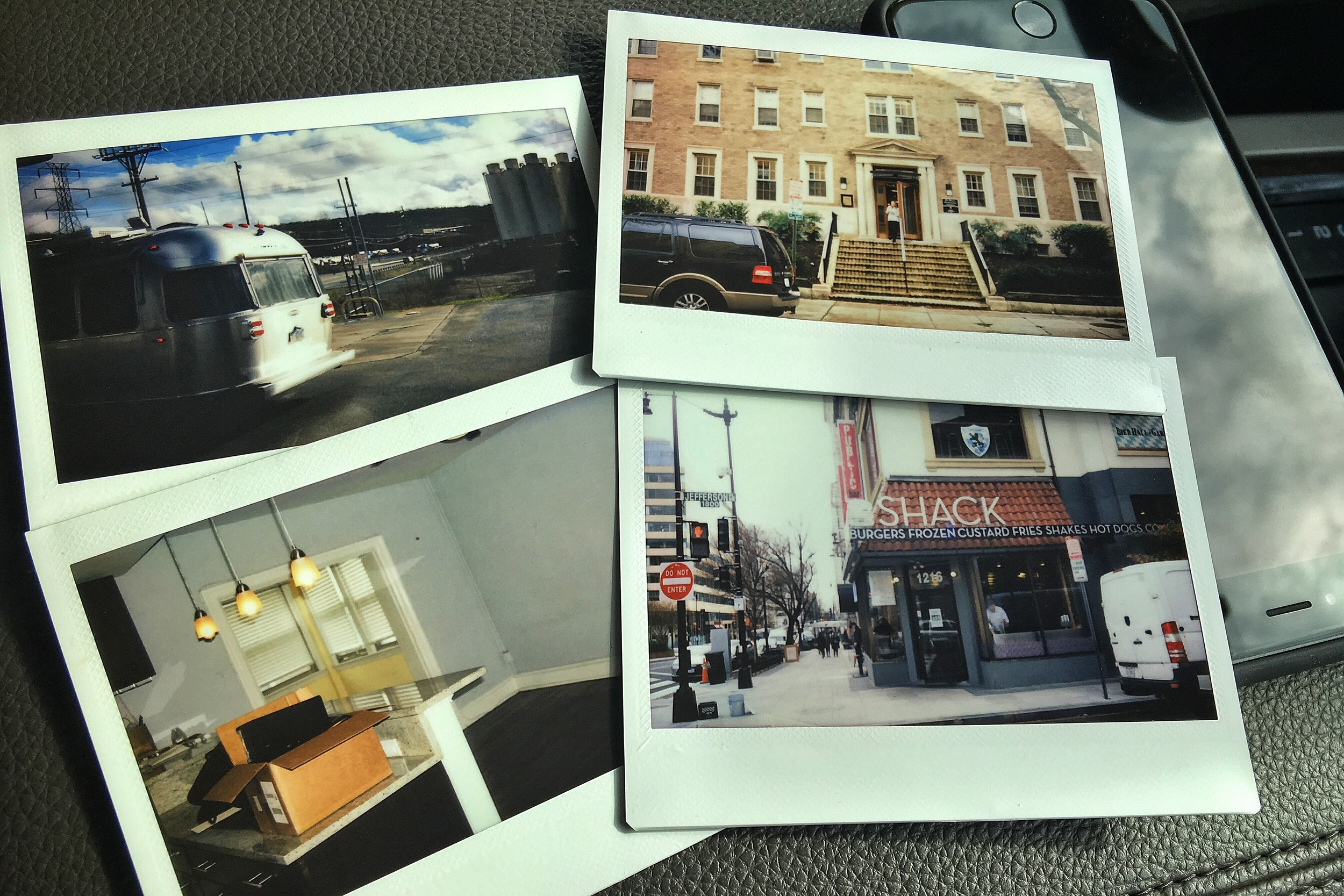 Fuji Instax snapshots of our life in transition -- new rig, old friend, empty condo, and home to our last meal in DC (Shake Shack!)