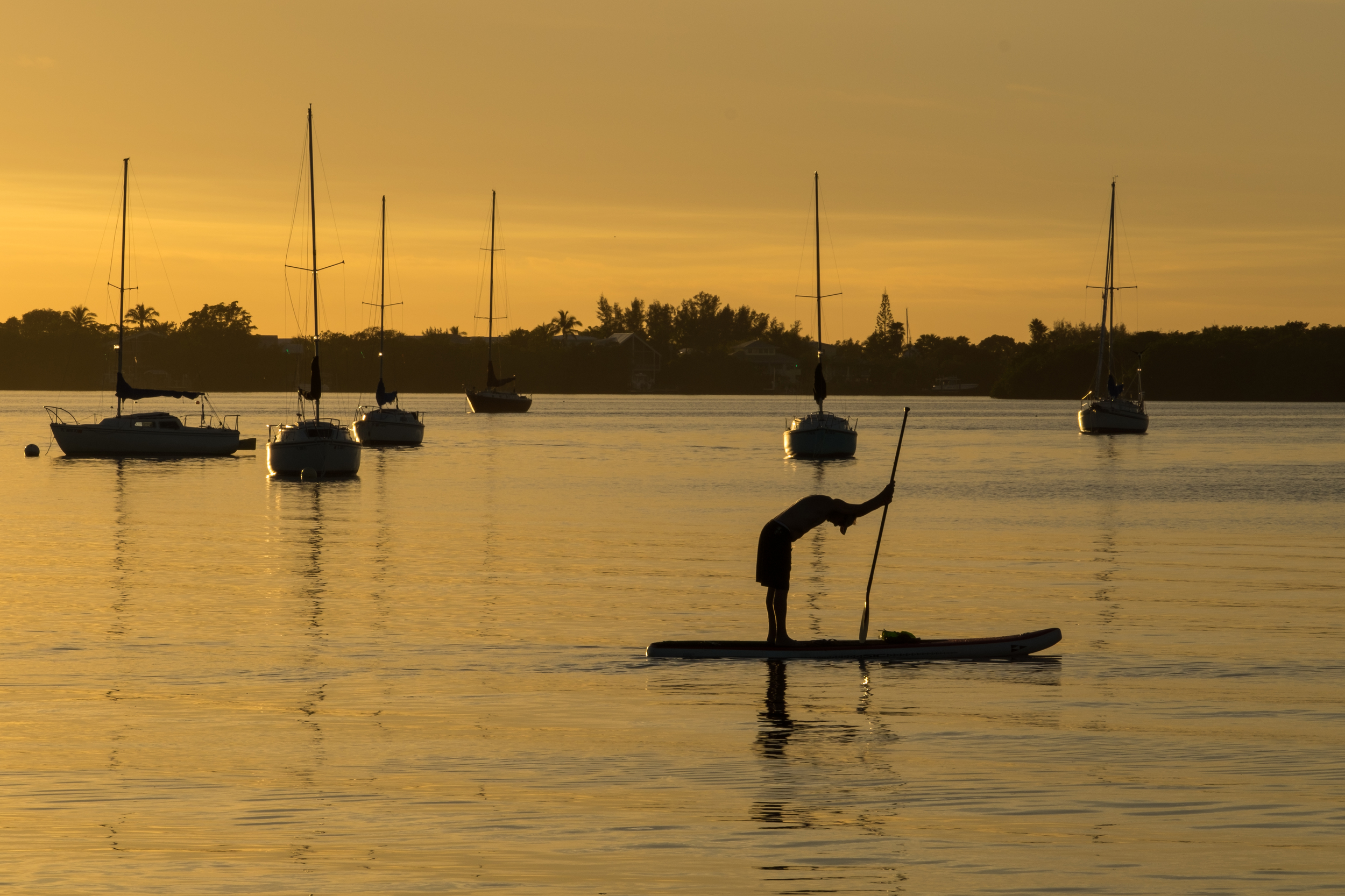 A prayer or a stretch? A paddleboarder takes a moment to reflect before continuing on.