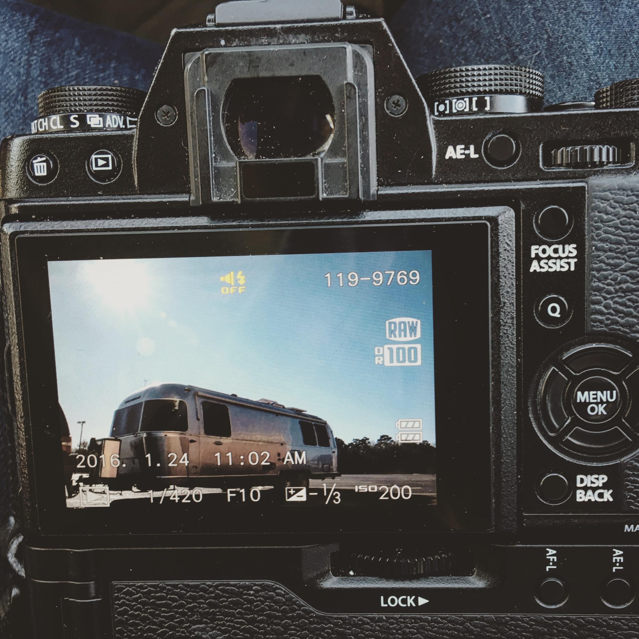 Airstream on display screen of Fujifilm X Series