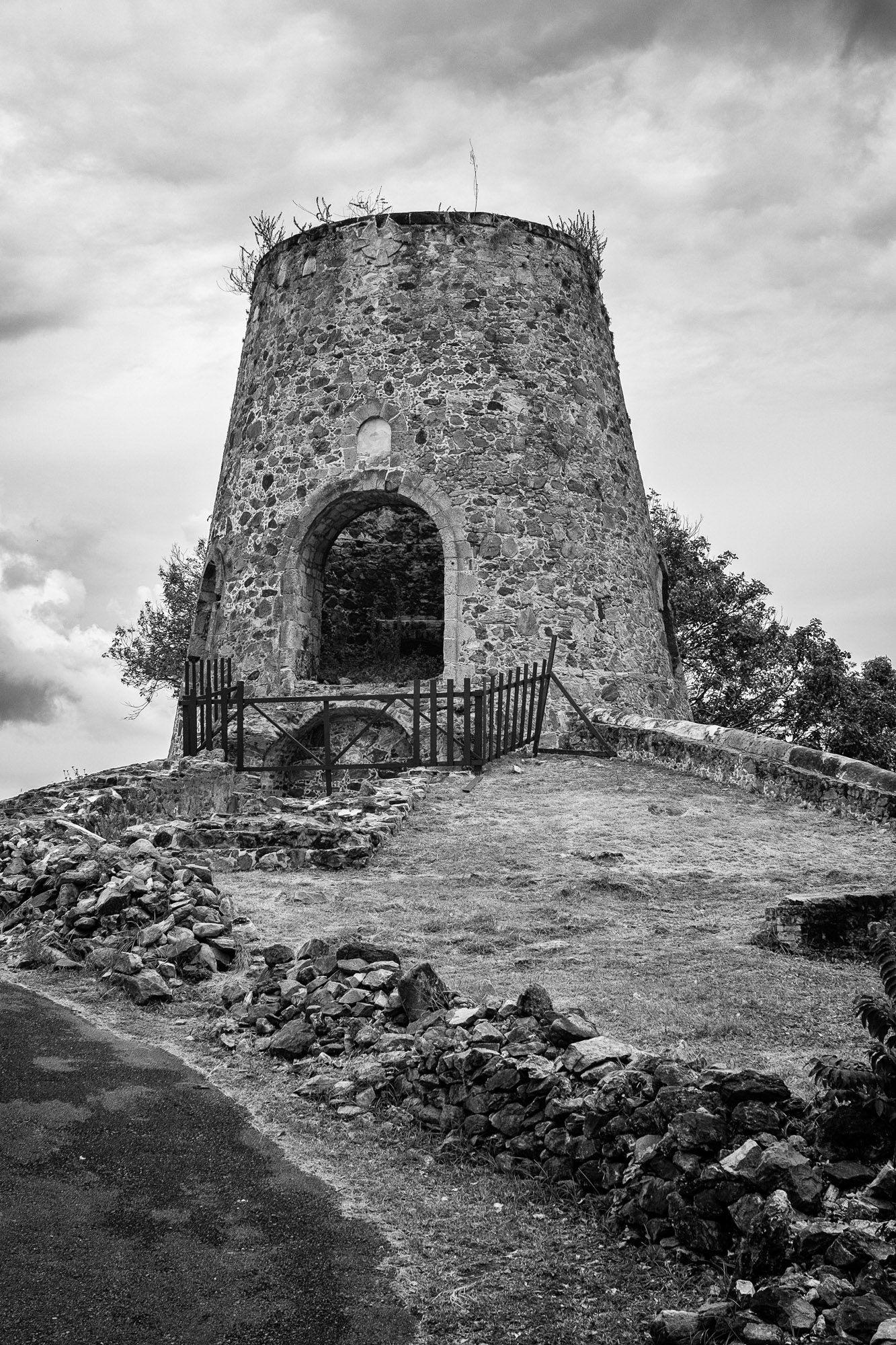 The old windmill in black and white.