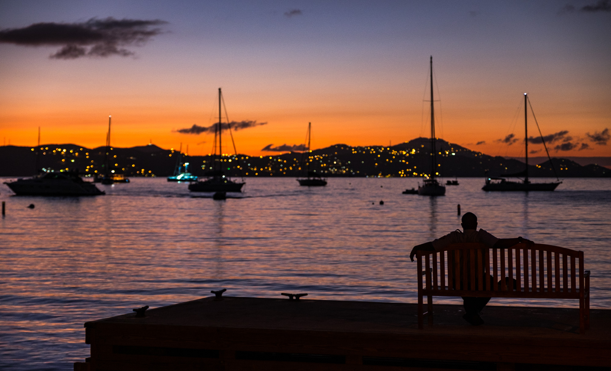 The blue hour...or is it the purple hour in the Virgin Islands?