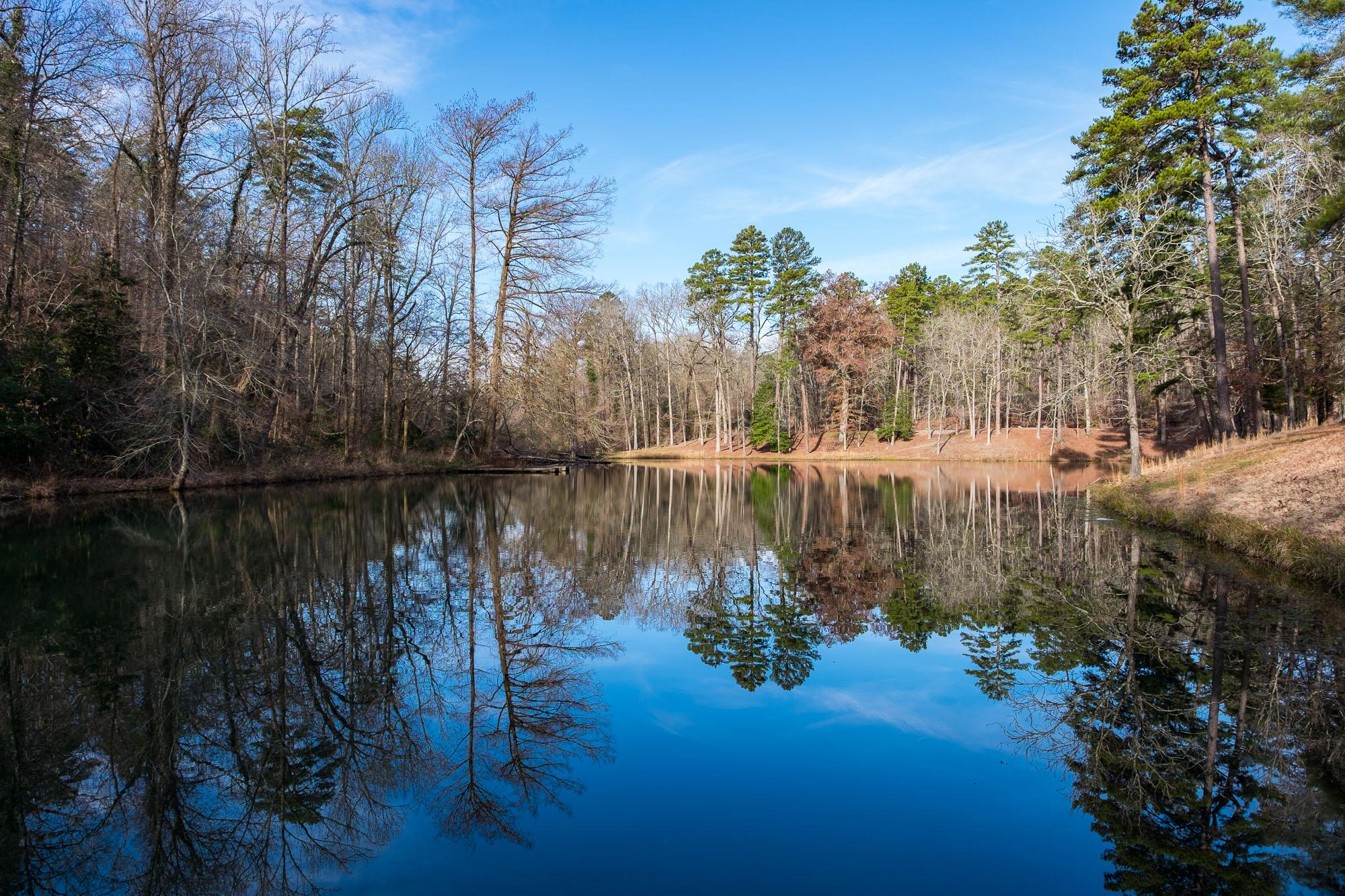 Pretty lake reflections along the trail.