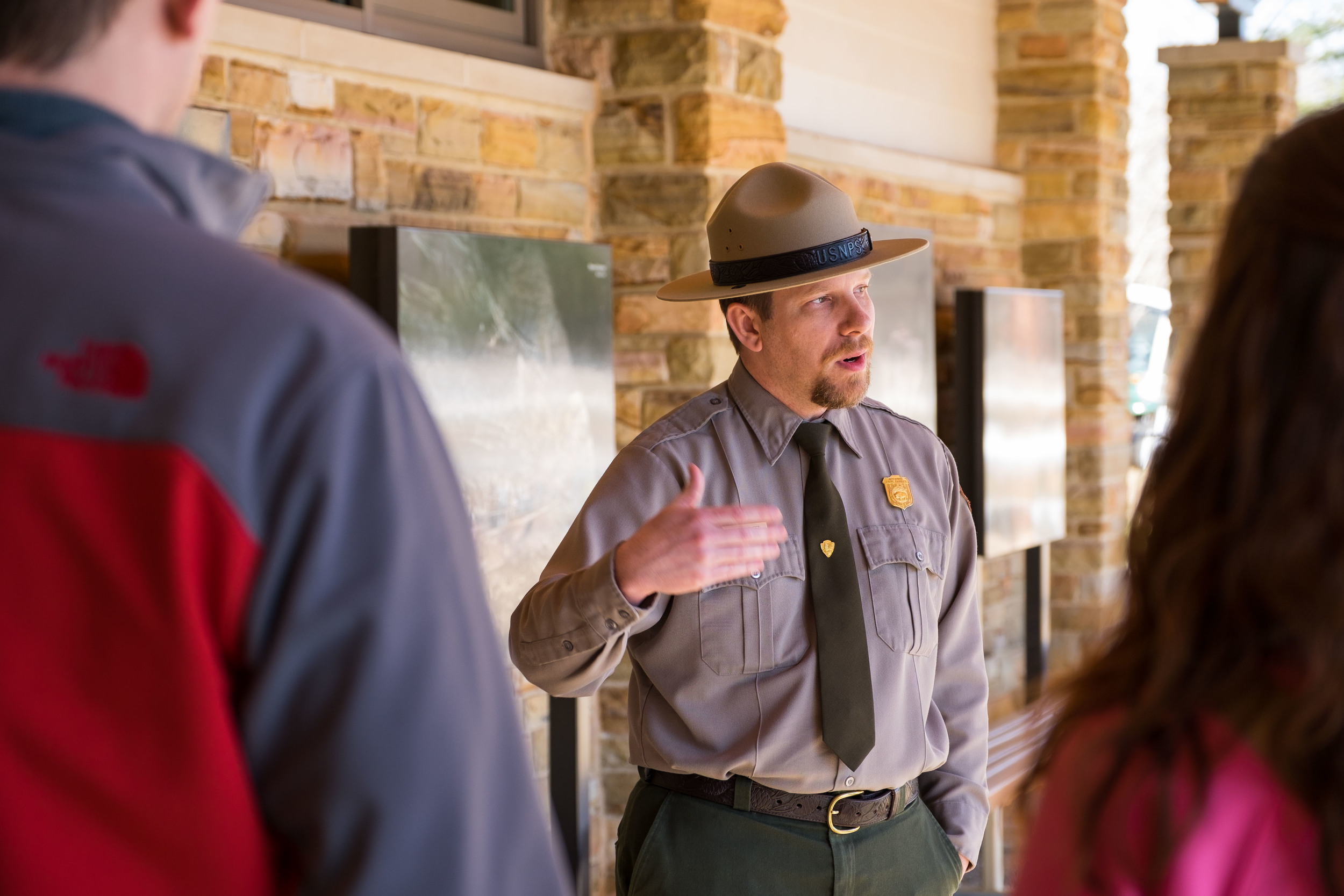Ranger Jackie, our new friend, telling a group of cave visitors about the cave and its history.