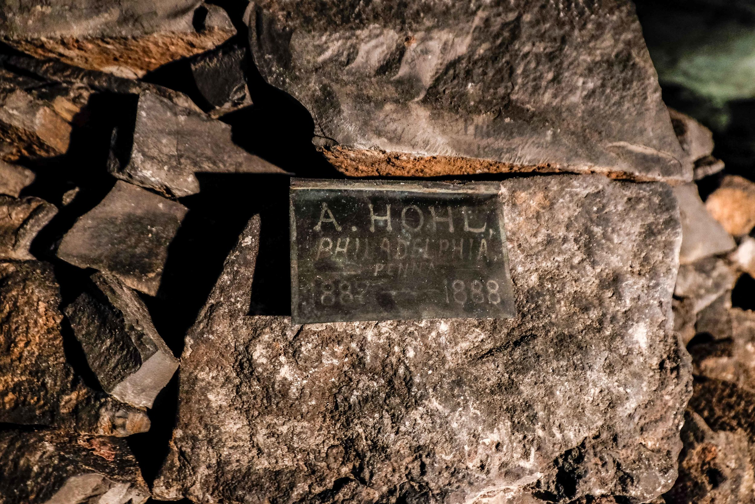 Some A. Hohl (A-Hole?) from Pennsylvania thought it was a good idea to put a sign up of his visit to the cave in 1888.