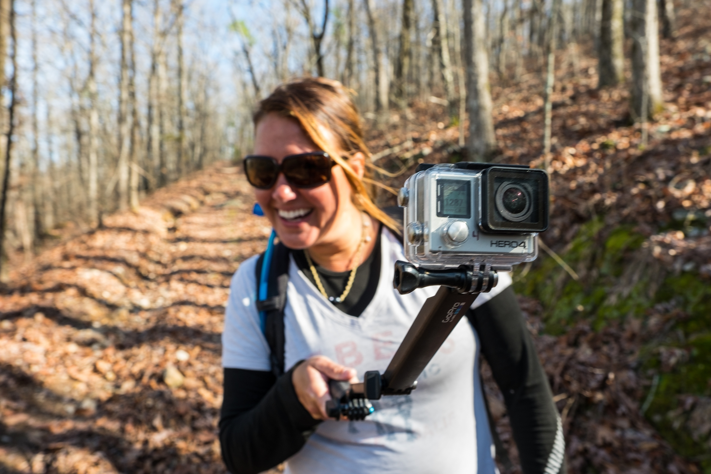Stef and her GoPro happy on the trails together...