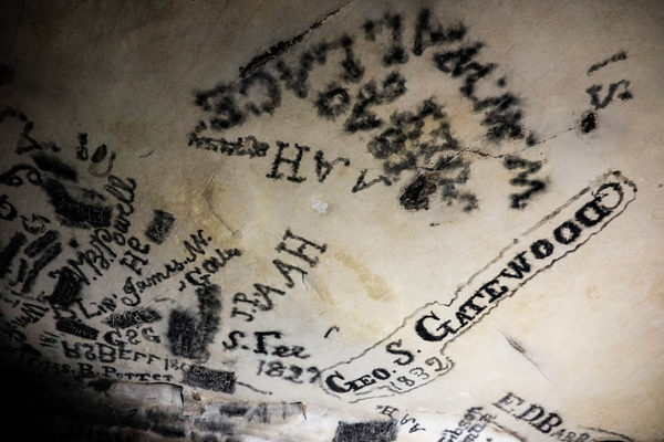 Ceiling paintings made of candle soot remain perfectly in tact from centuries ago when they were left.