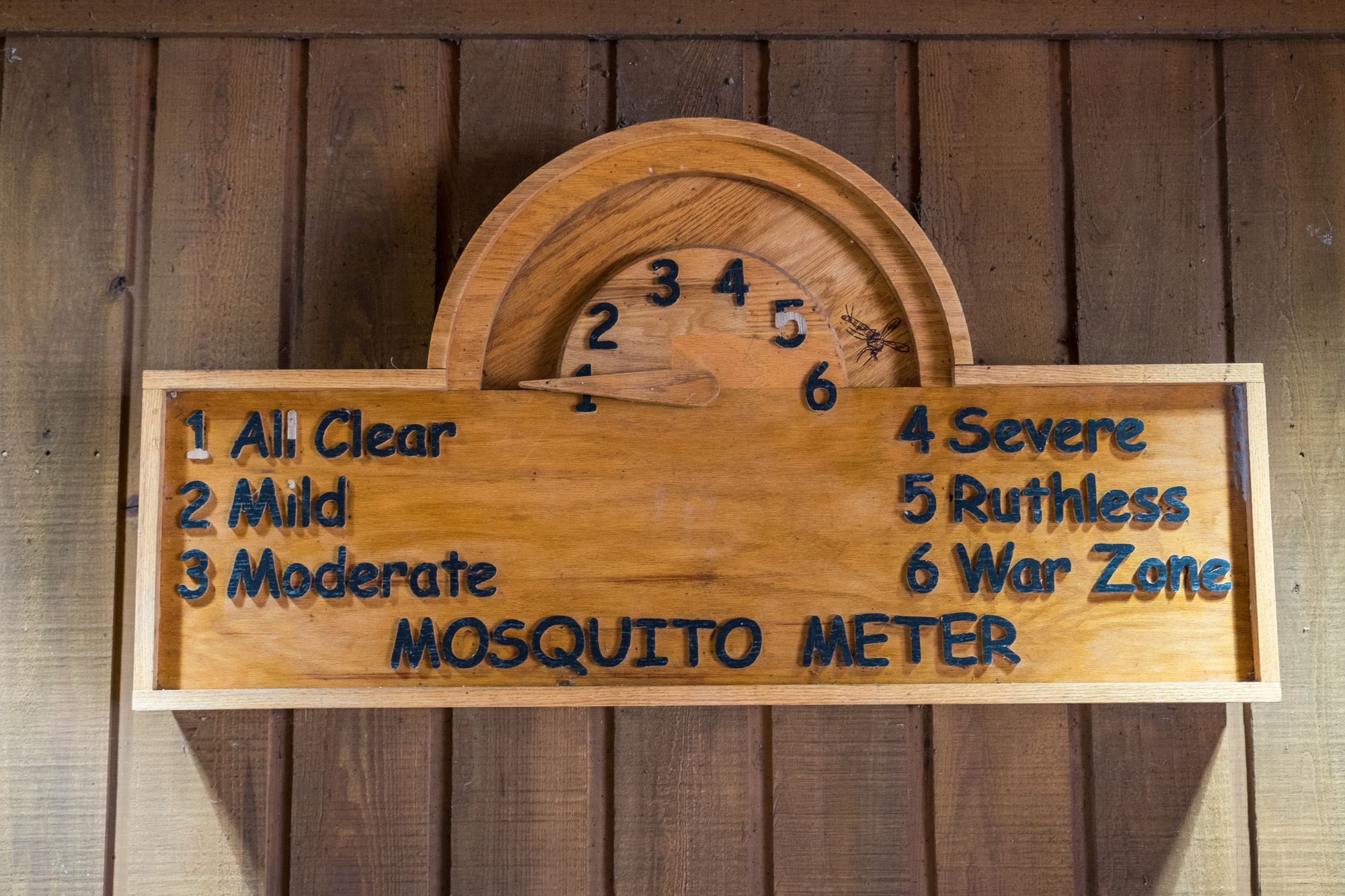 Mosquito meter at Congaree National Park Visitor Center.