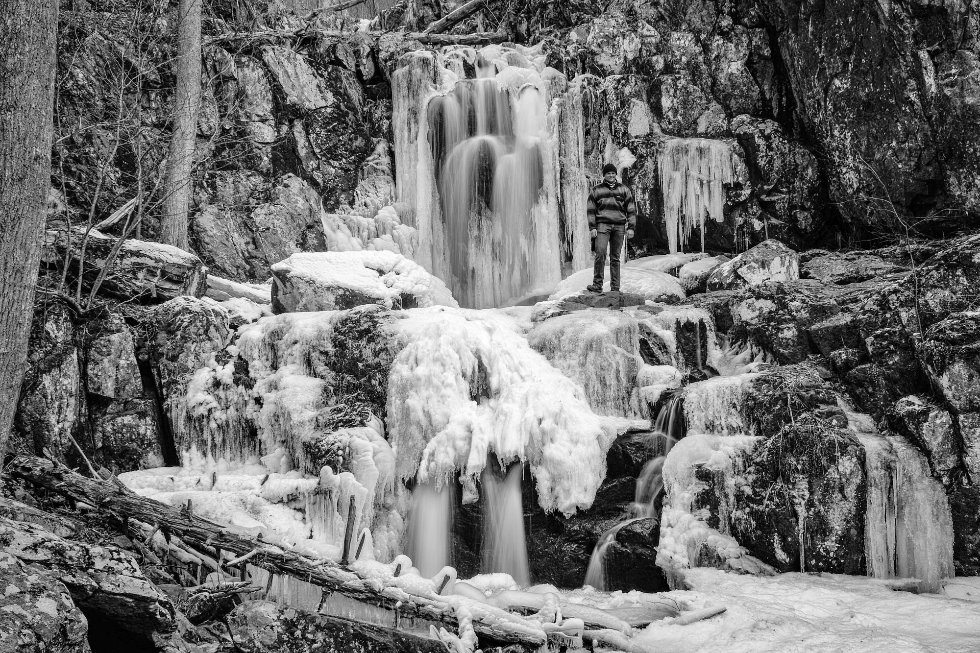 Our first glimpse of Dark Hollow Falls in winter. Beautiful frozen waterfall!