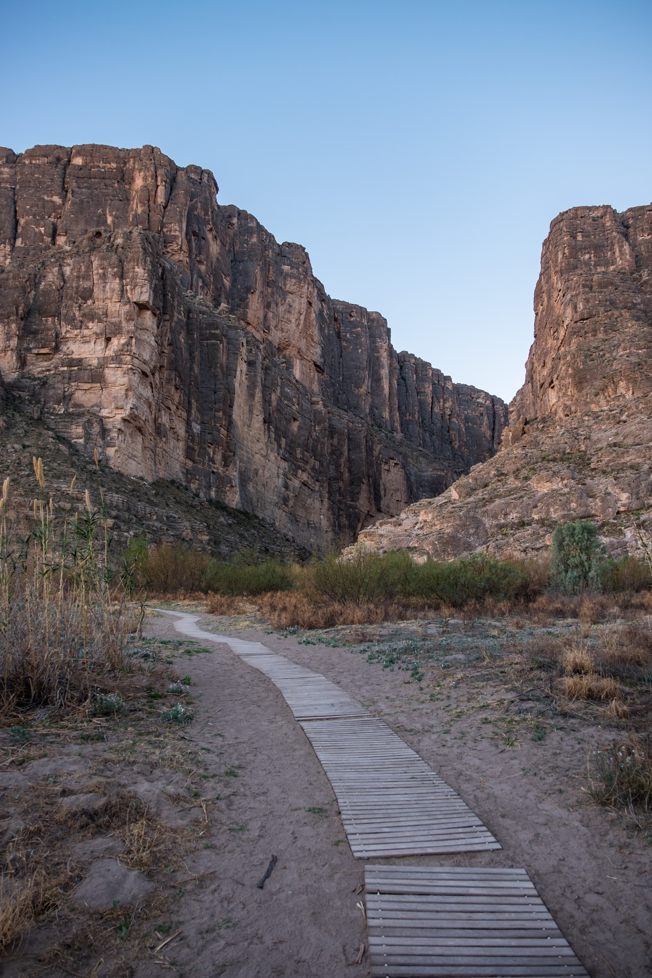 The trail leading up to the canyon at sunrise.