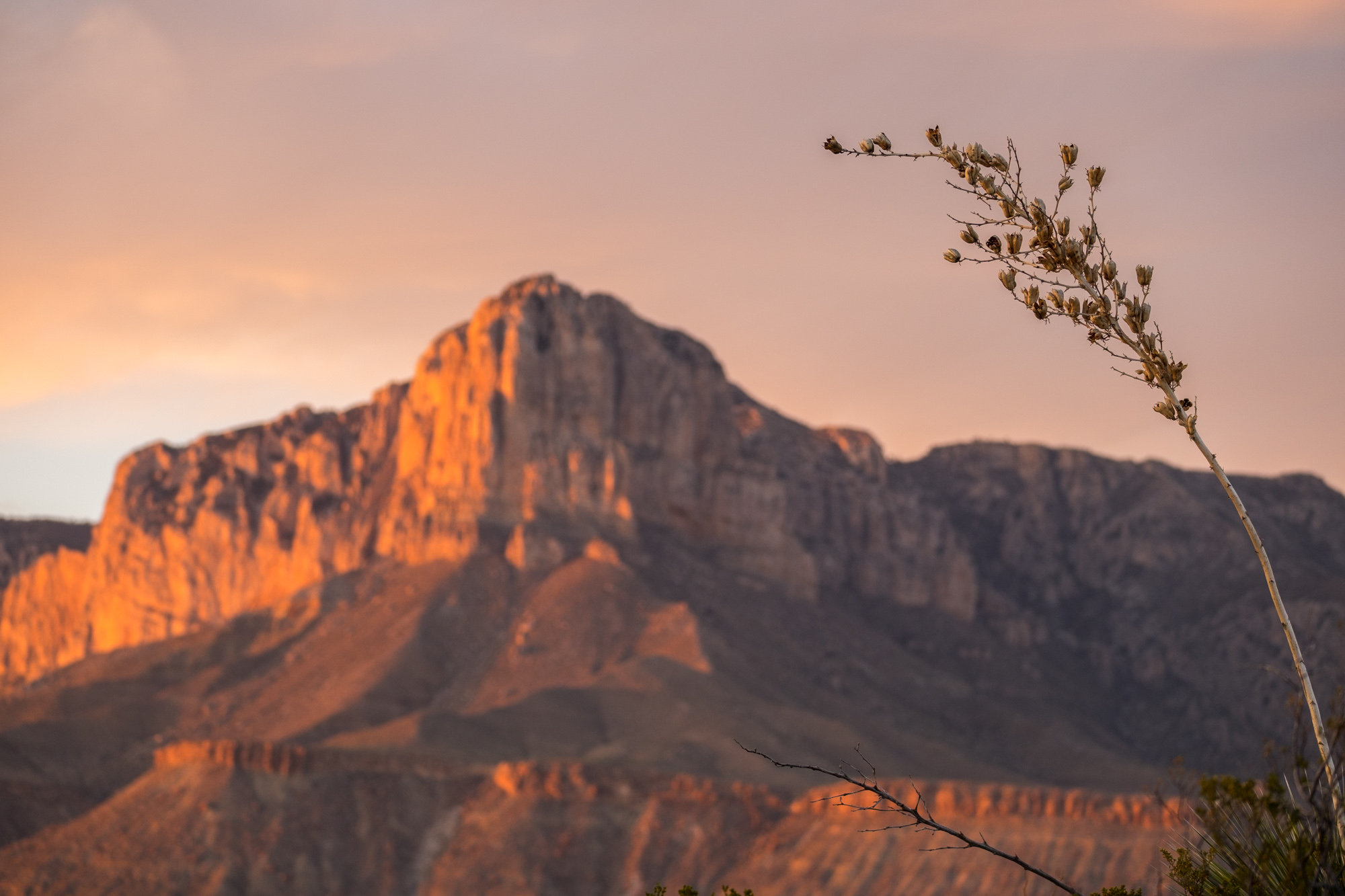 Sunset on the Guadalupe Mountains.