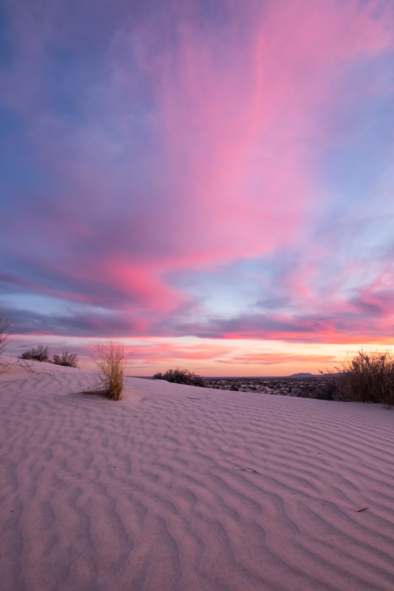 Last sunset shot of the Salt Basin sand dunes at Guadalupe Mountains National Park.