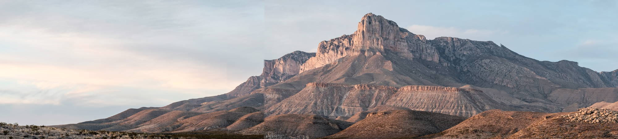 Panoramic of Guadalupe Mountain Peak.