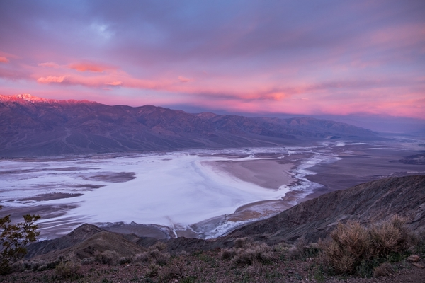 Dante's View overlooking Death Valley and the Black Mountains at sunrise.