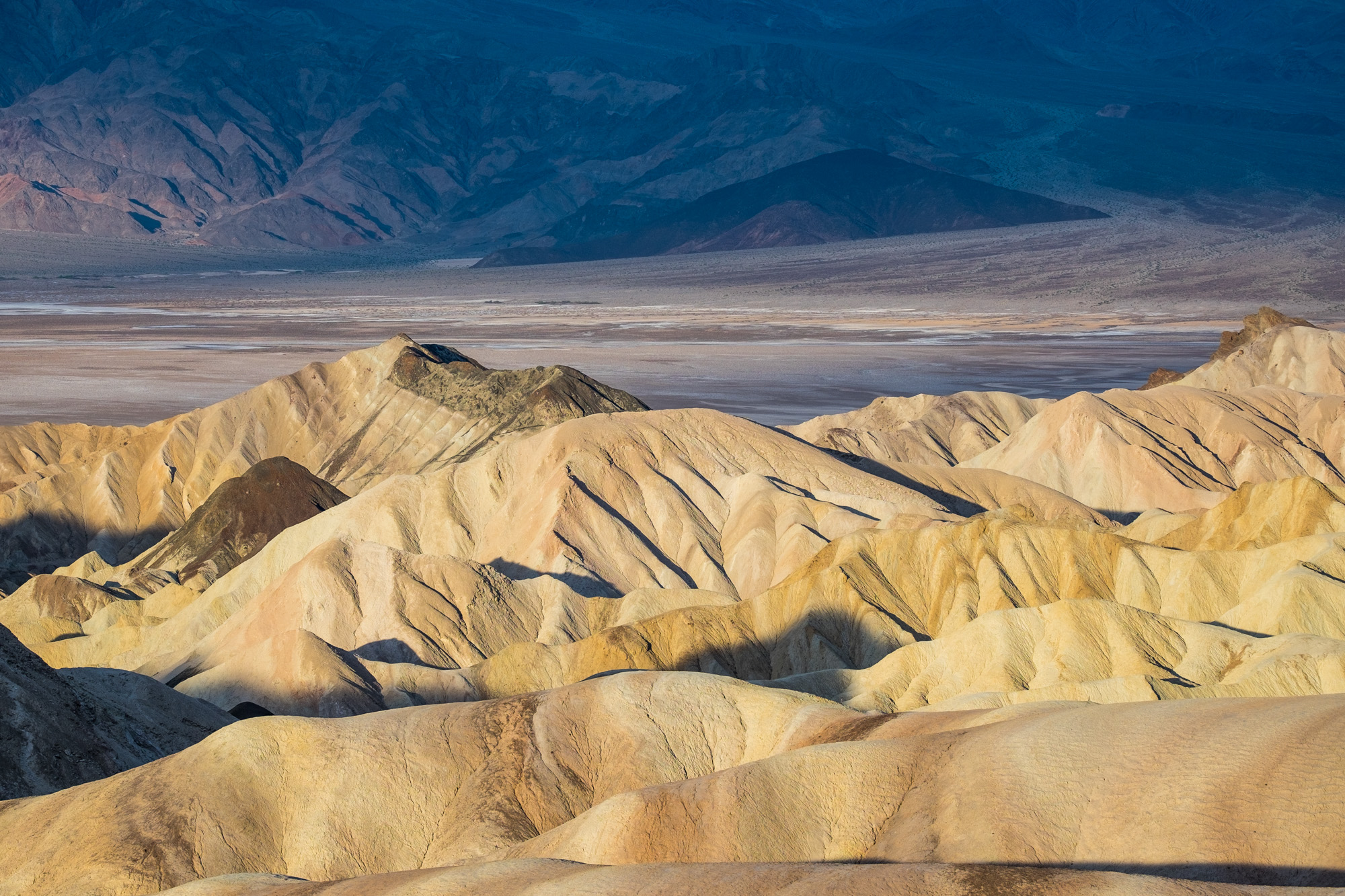 Sunrise is the time to shoot at Zabriskie Point.