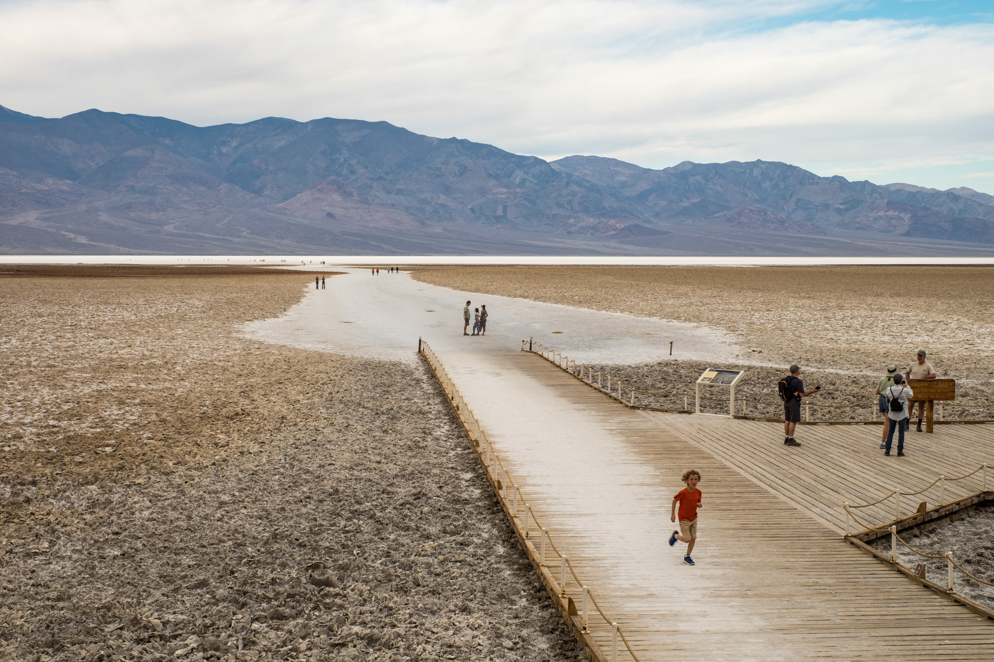 Badwater Basin, named after the salt-filled water that has no respite from the desert sun, is the lowest point in Death Valley.