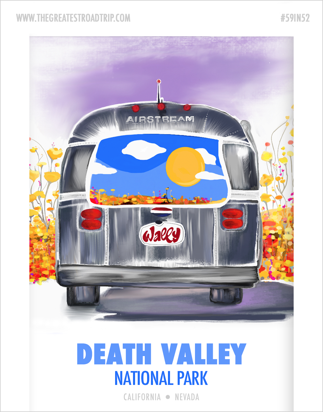 Illustration inspired by Death Valley National Park and Wally the Airstream, our home on the road – created with the Procreate app and Apple Pencil on the iPad Pro.