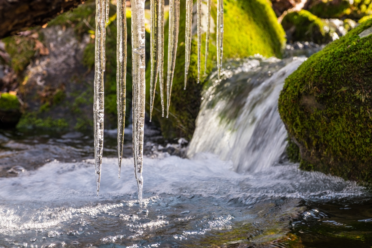 Icicles and a brook at the Great Smoky Mountains in North Carolina and Tennessee.