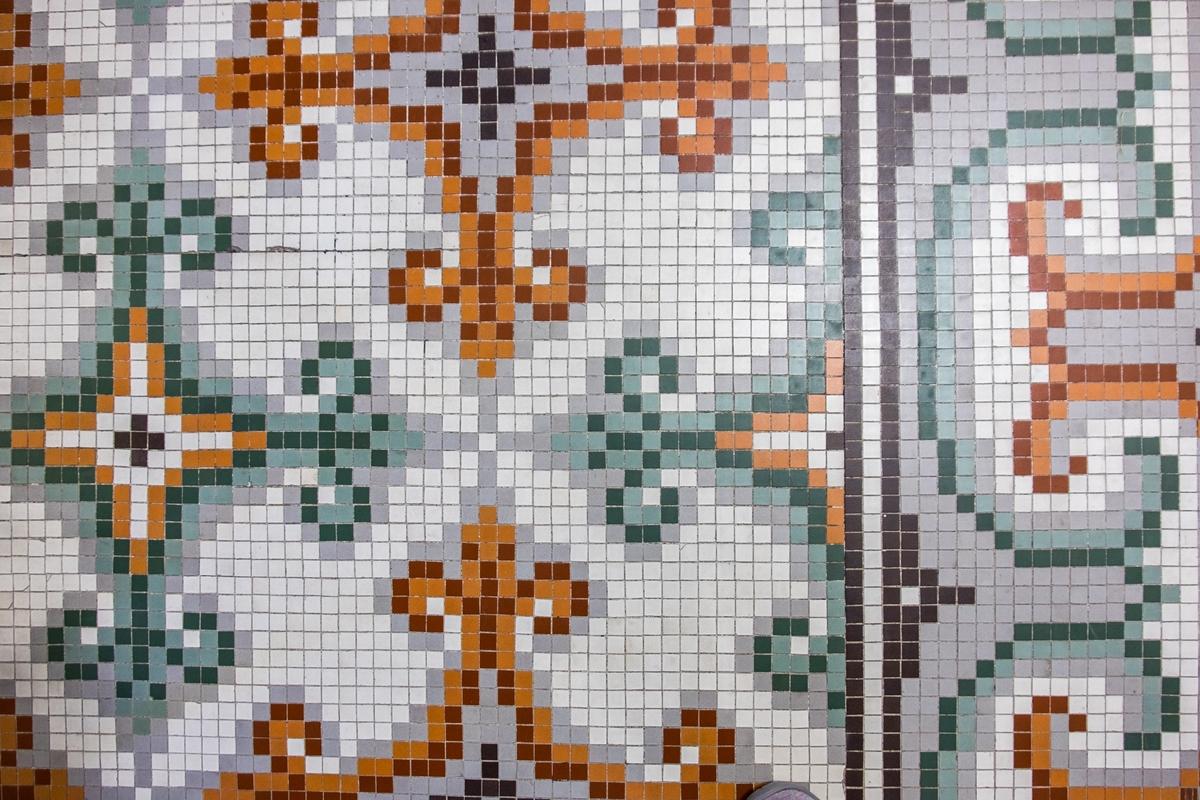 Hand laid tile work in Hot Springs National Park, Arkansas.