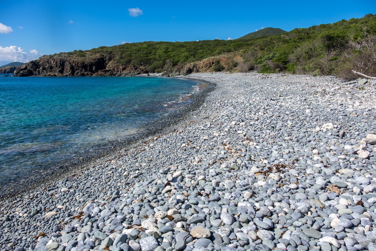 Stones on the beach at Virgin Islands National Park.