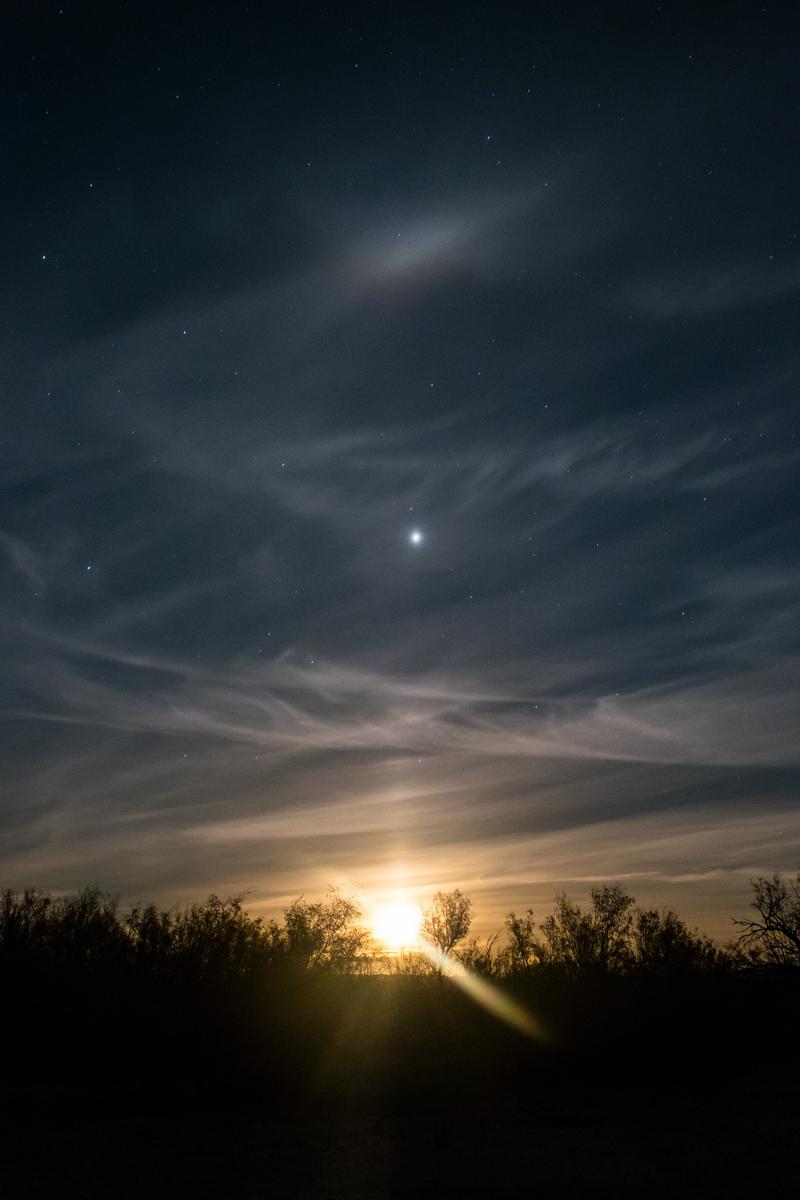 Moonrise in Big Bend National Park in Texas.