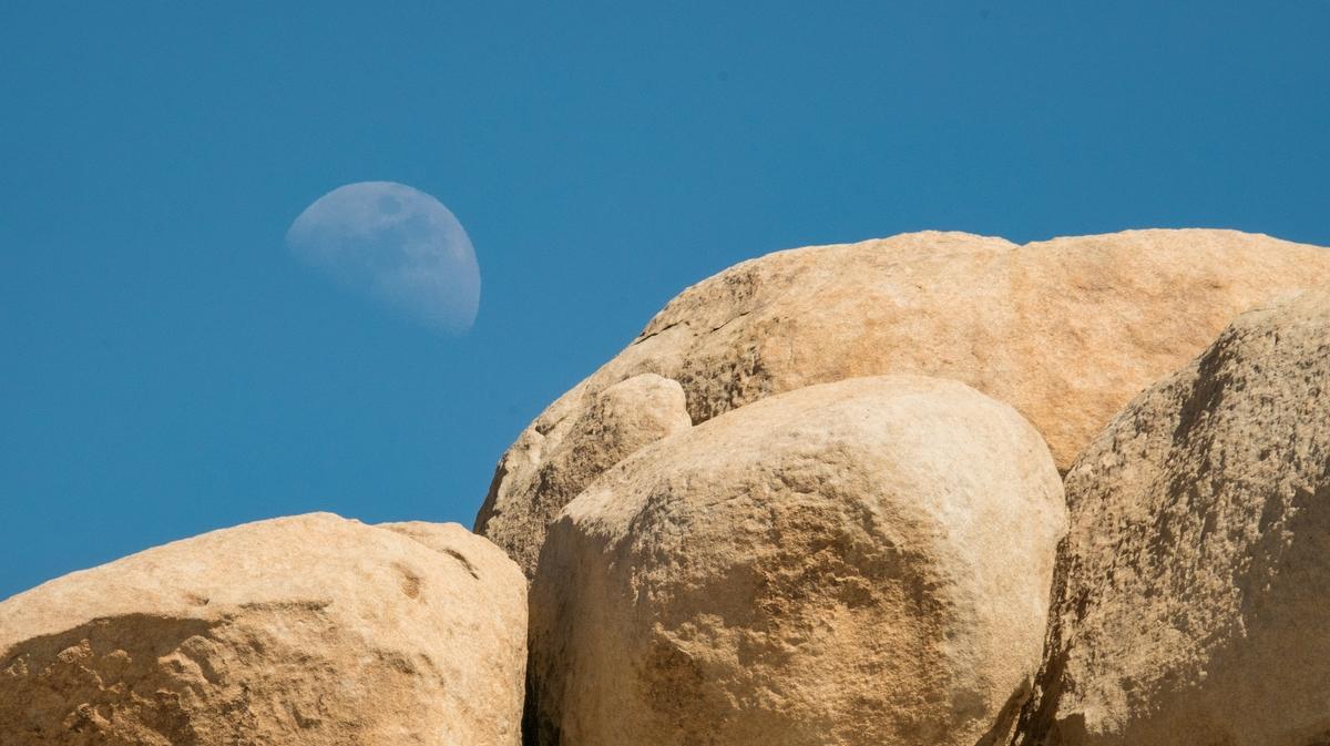 Moonset in Joshua Tree National Park in California.