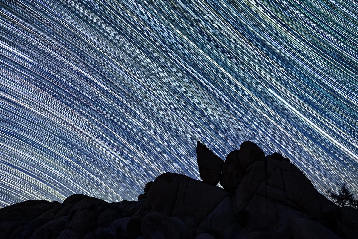 Star trails in Joshua Tree National Park in California.