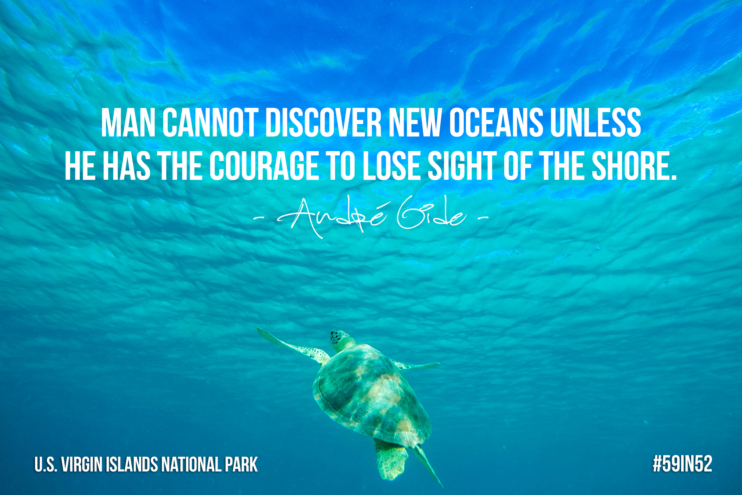"""Man cannot discover new oceans unless he has the courage to lose site   of the shore."" - Andre Gide"