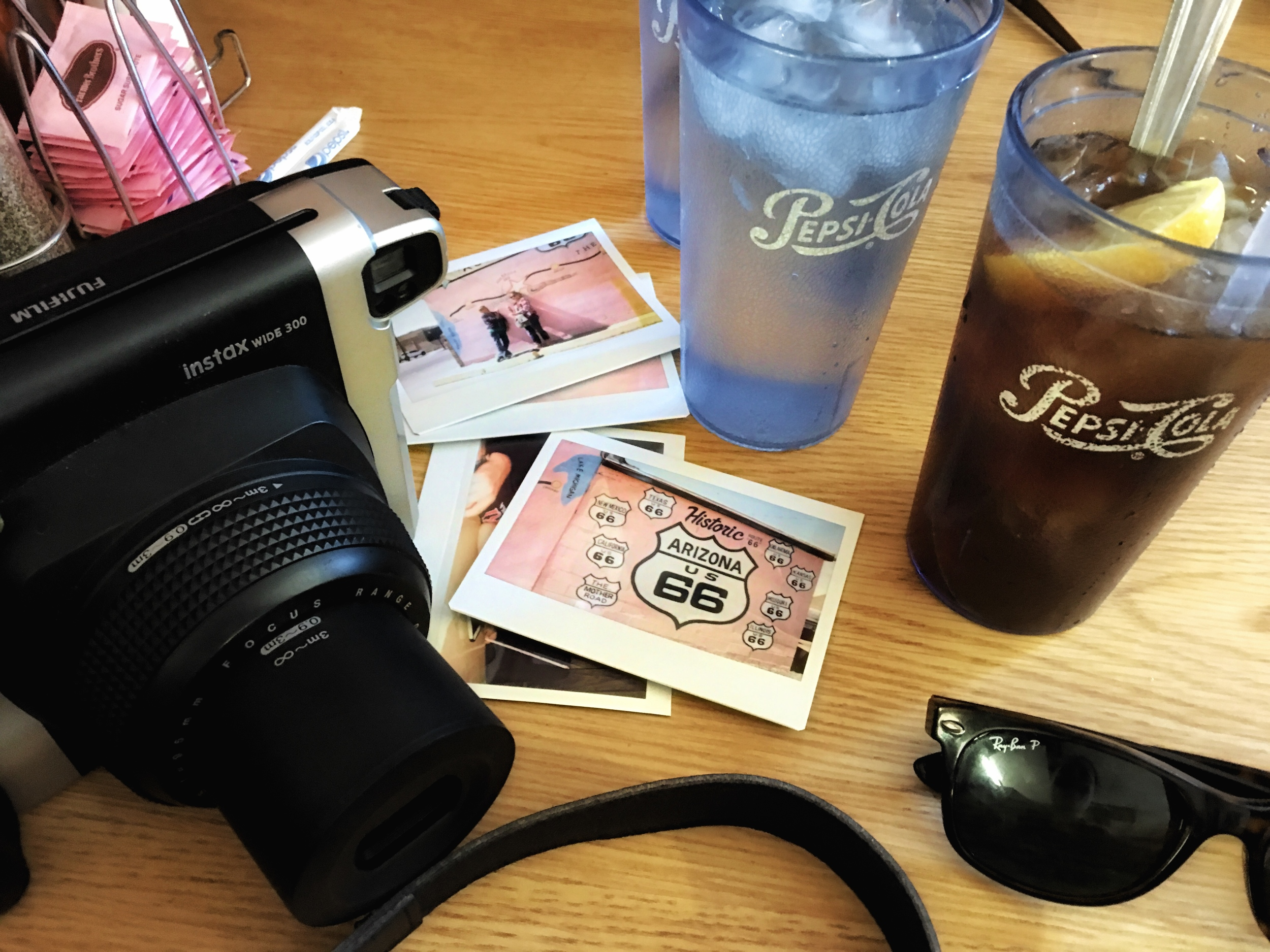 Photographing Americana on Route 66 on the way to Petrified Forest National Park in Arizona... Fujfilm Instax, Pepsi-cola, Ray Ban sunglasses, and America's favorite byway!