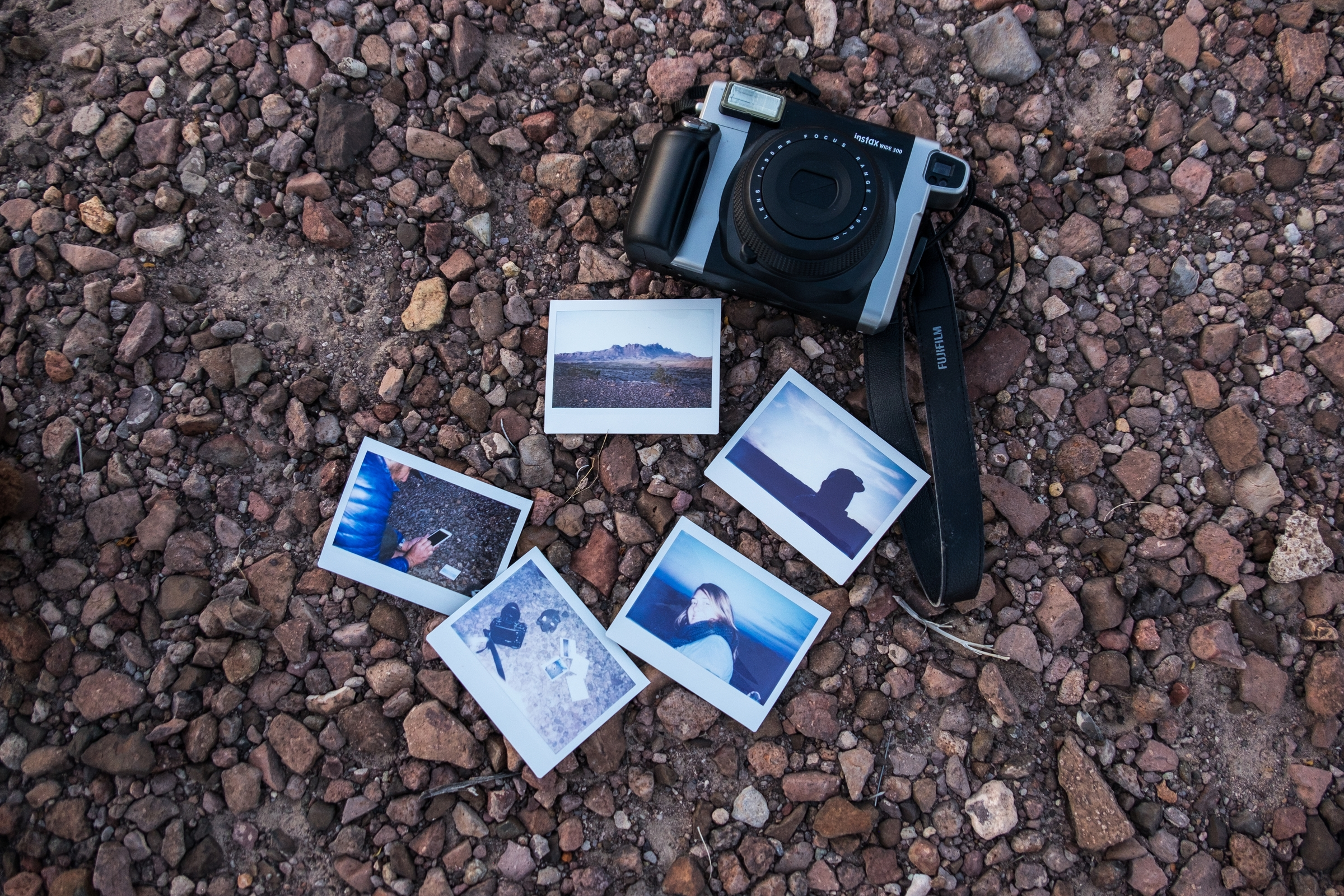 A Fujifilm Instax moment captured during sunset at Big Bend National Park in Texas.