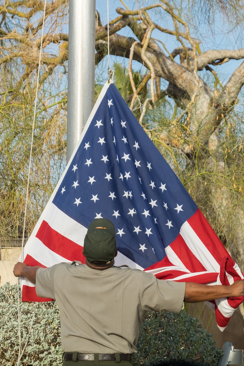 A morning flag raising at Joshua Tree National Park in California.
