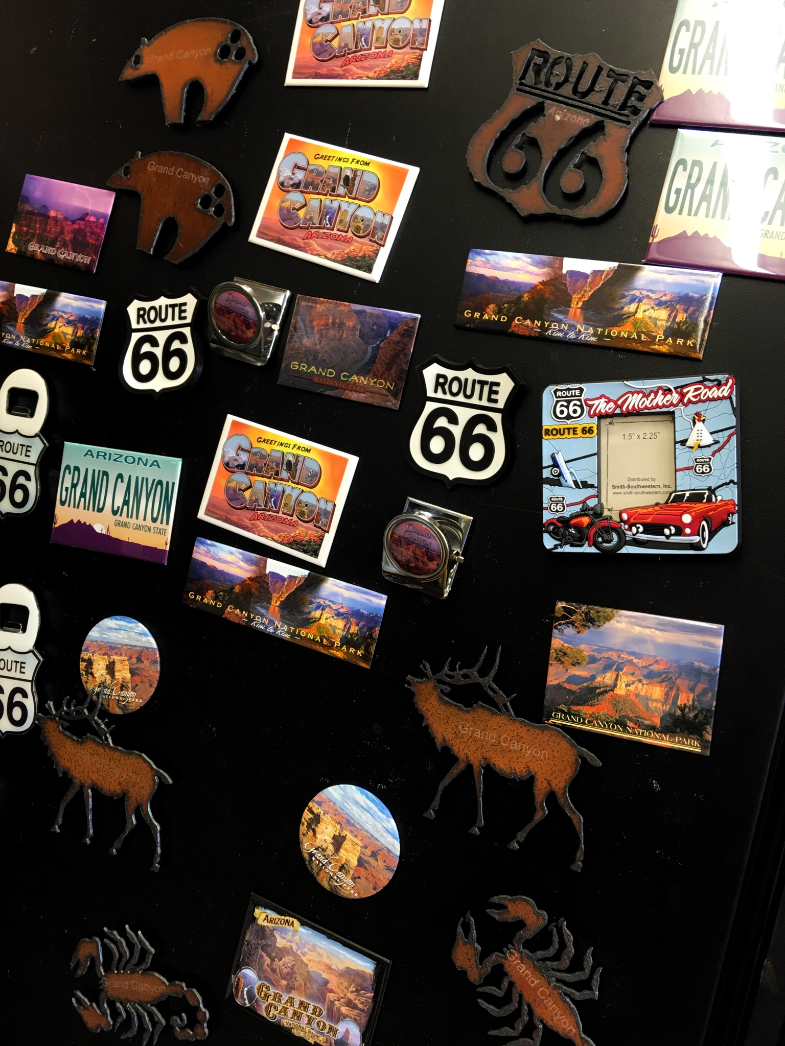 Route 66 memorabilia at an internet cafe outside of Grand Canyon National Park in Arizona.