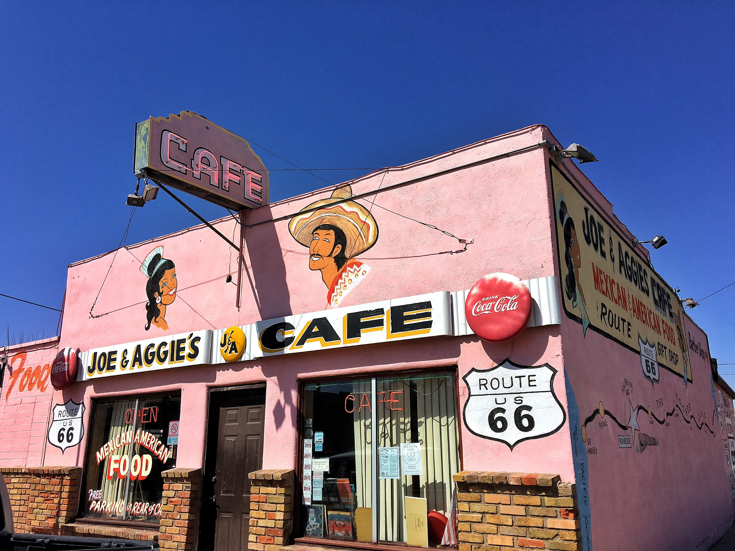 Joe & Aggies Cafe on historic Route 66 in Holbrook, Arizona, en route to Petrified Forest National Park in Arizona, we needed our Mexican food fix!