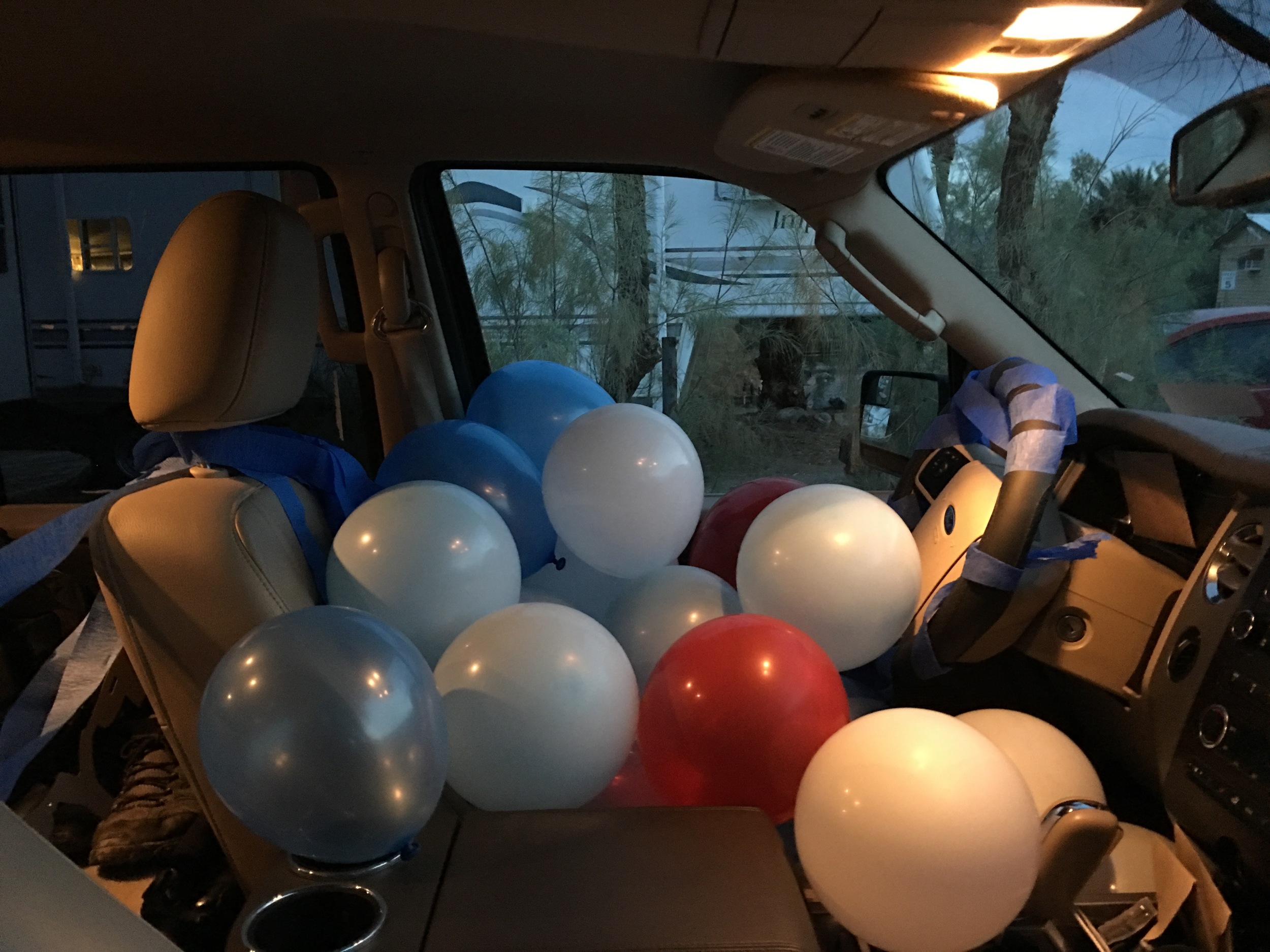 March 5th is Jonny's birthday, so Stef filled the car with balloons at the Furnace Creek campground in Death Valley National Park, California.