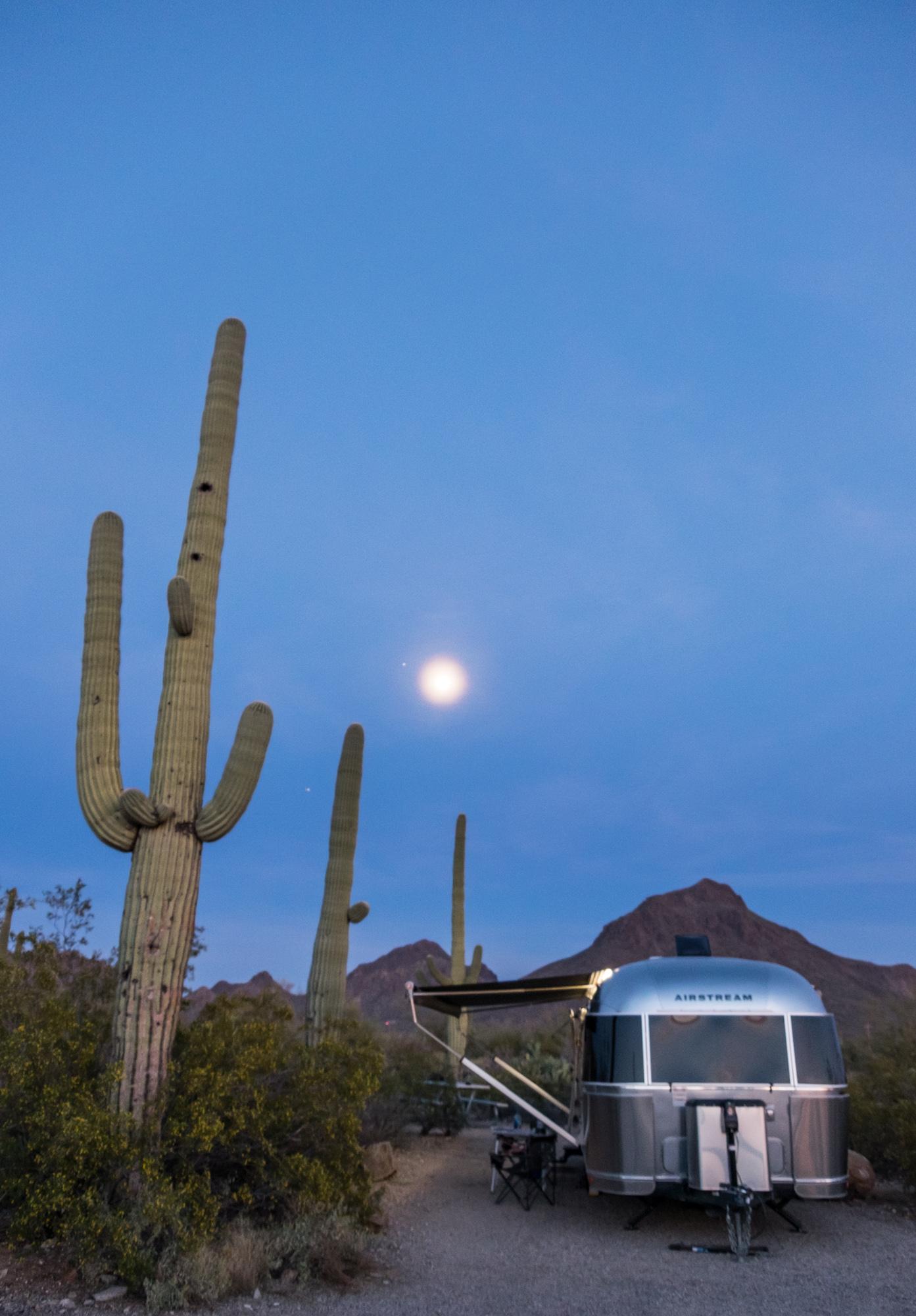 Moon glow above Wally the Airstream at Saguaro National Park in Arizona.