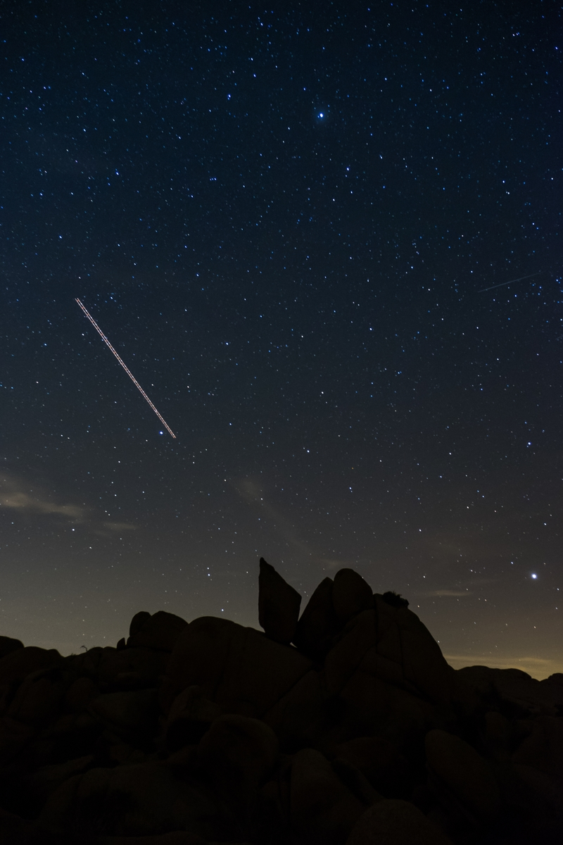 A shooting star captured at Joshua Tree National Park in California.