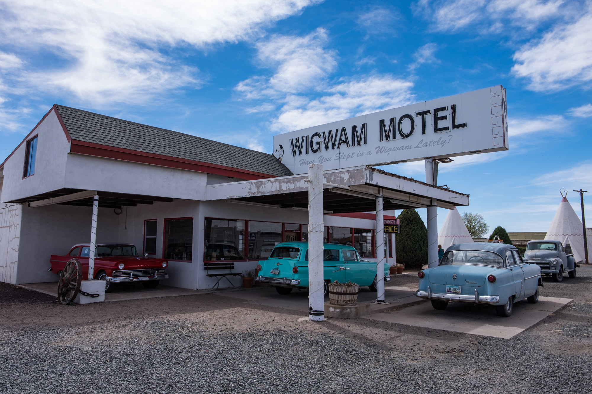 The front entrance of the Wigwam Motel in Holbrook, Arizona.