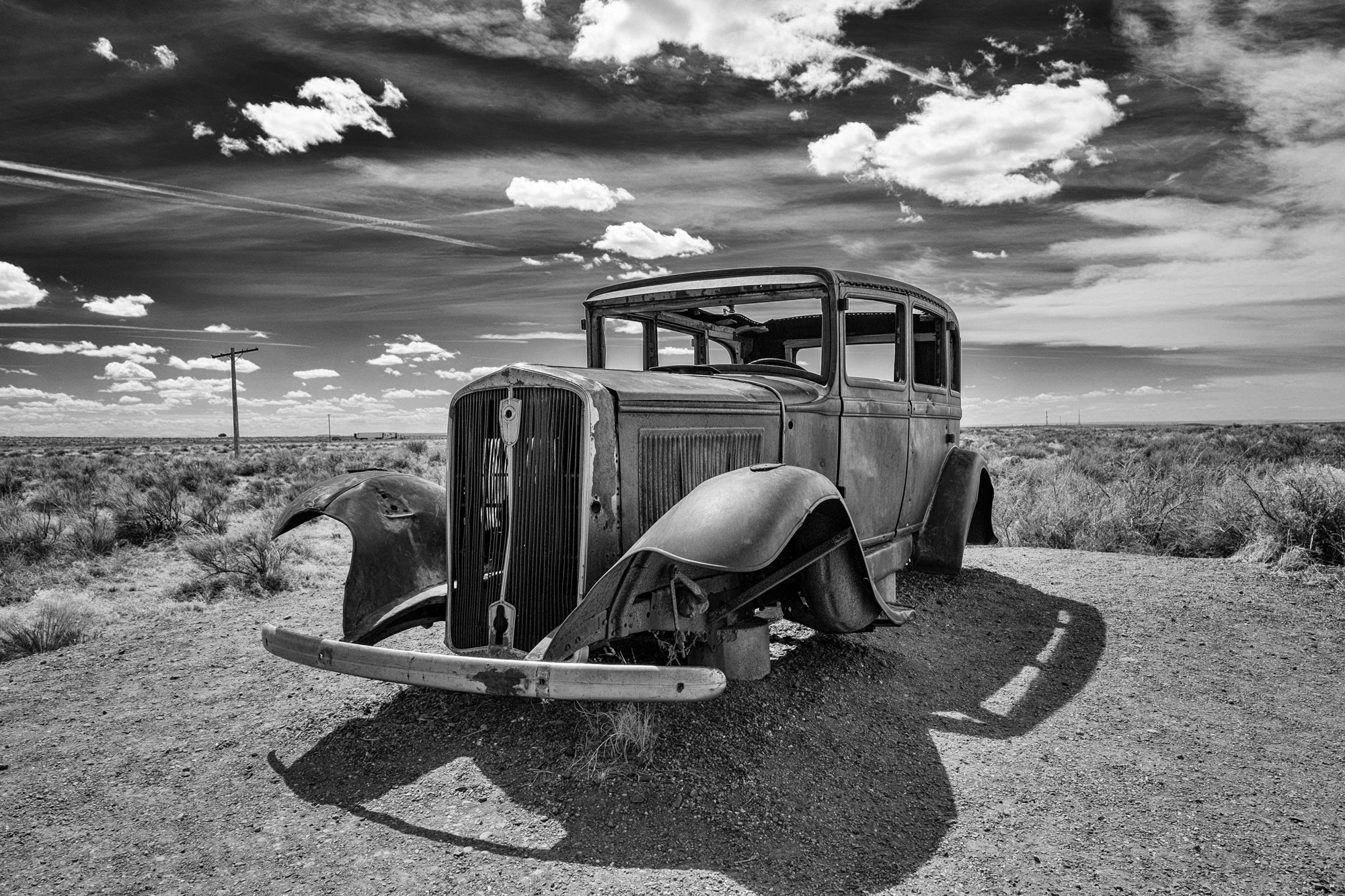 Speaking of old cars, this vintage shell is at the trailhead for the old road.