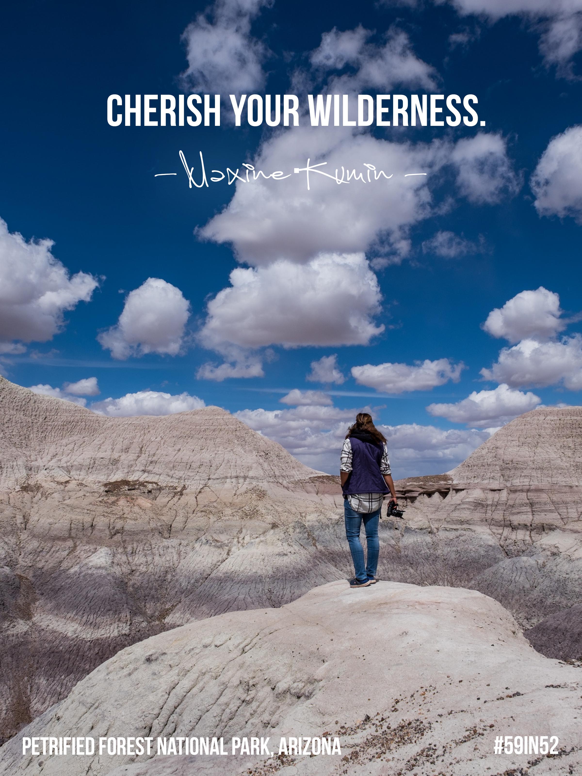 """""""Cherish your wilderness."""" -Maxine Kumin"""