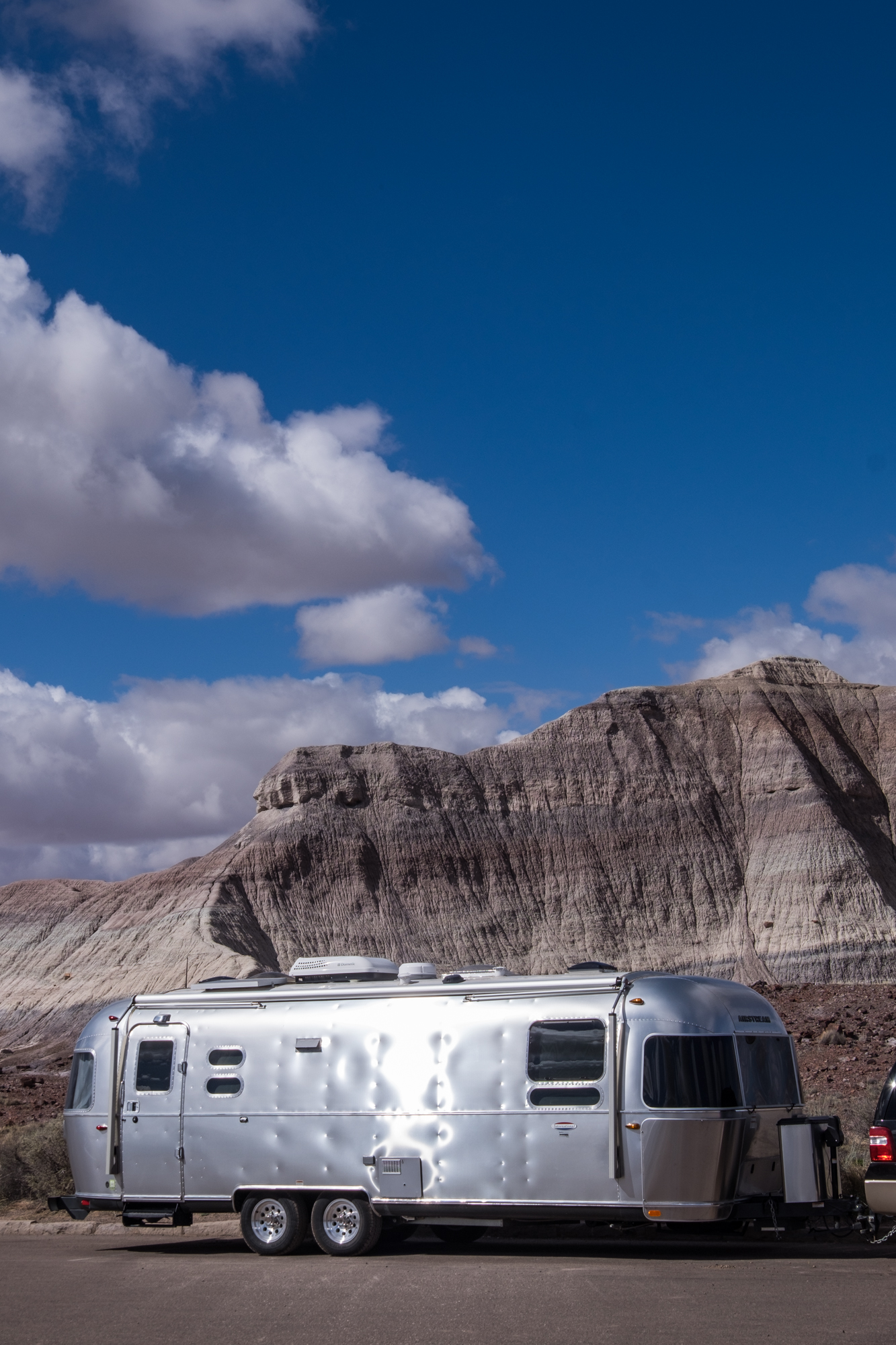 Wally the Airstream at Martha's Butte in Petrified Forest National Park in Arizona.