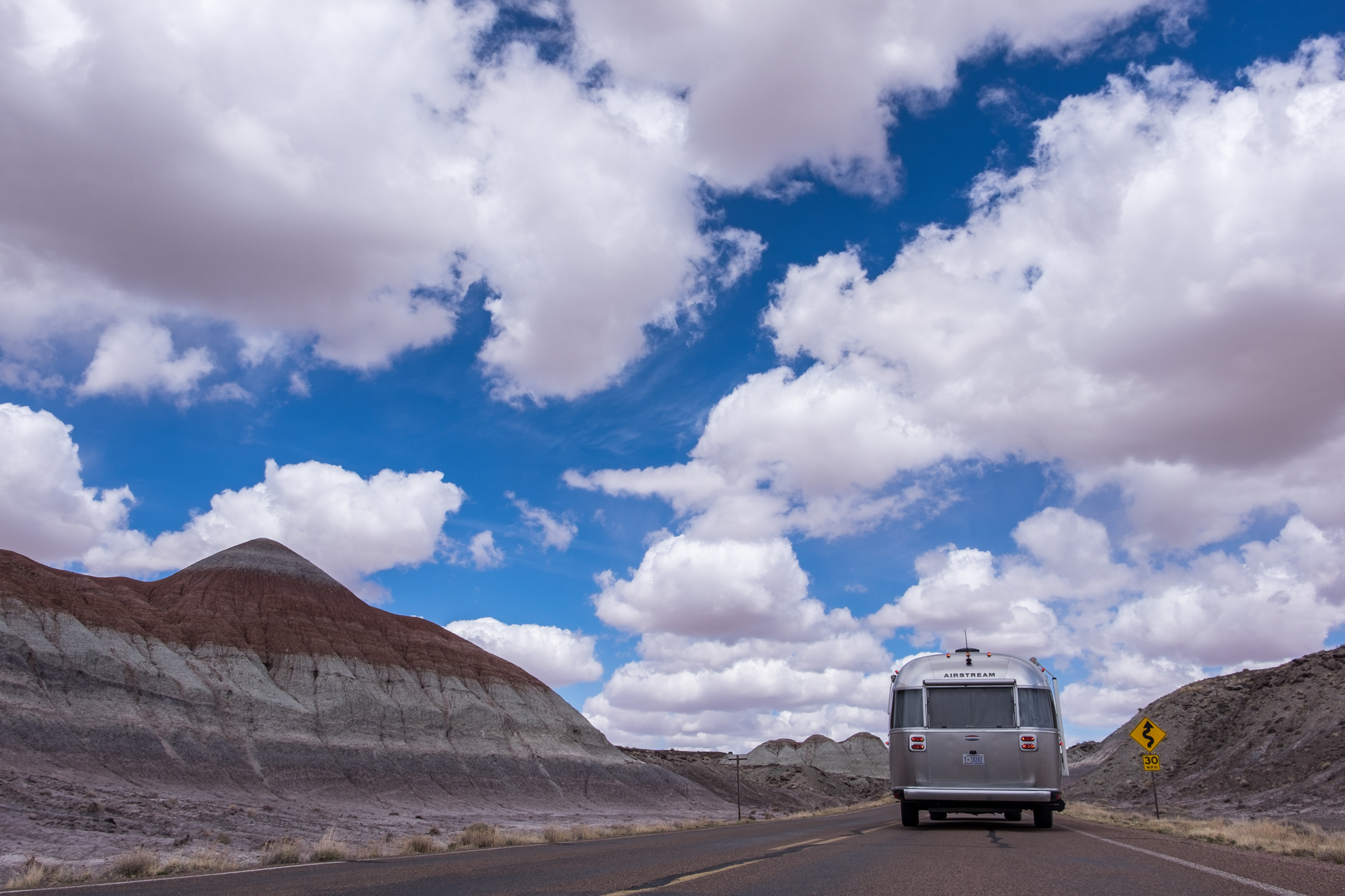 Wally in the clouds in Petrified Forest National Park in Arizona.