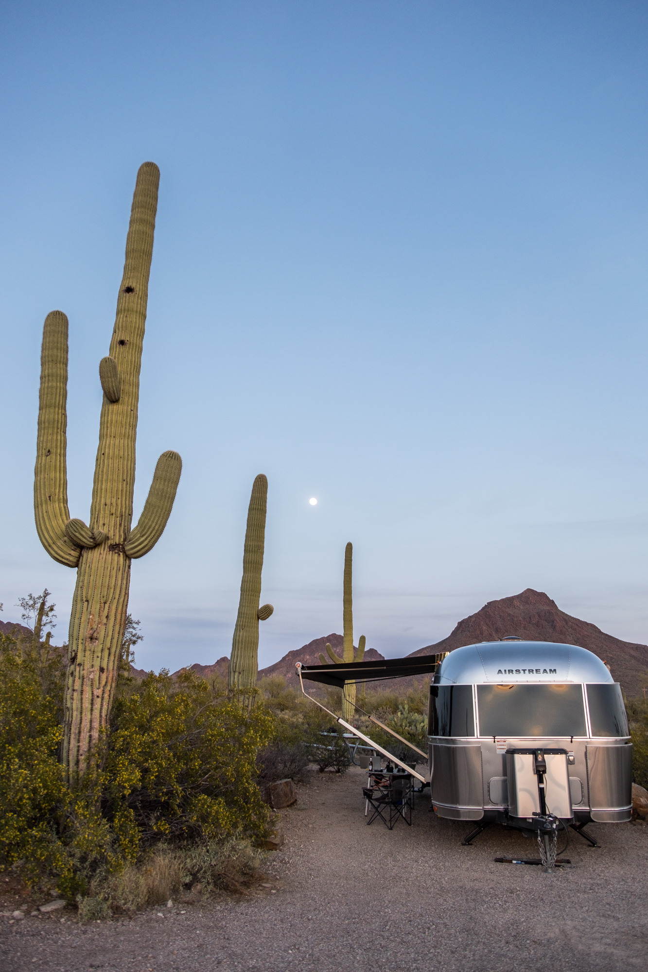 Wally the Airstream tucked away in the Gilbert Ray campground at Saguaro National Park in Arizona.