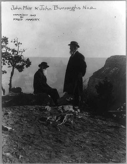 John Muir and John Burroughs, c. 1909. Credit: Library of Congress, Copyright Fred Harvey.