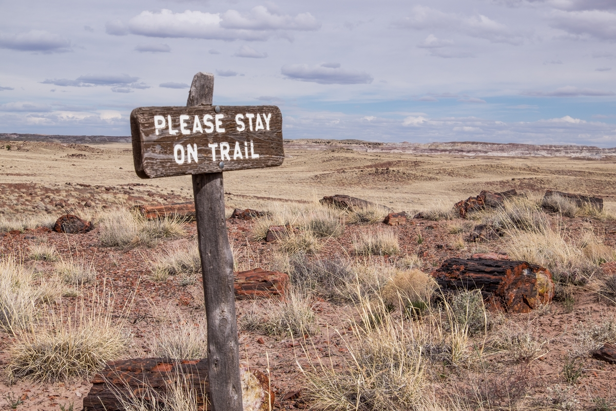 """Please stay on trail"" at Petrified Forest National Park in Northern Arizona."