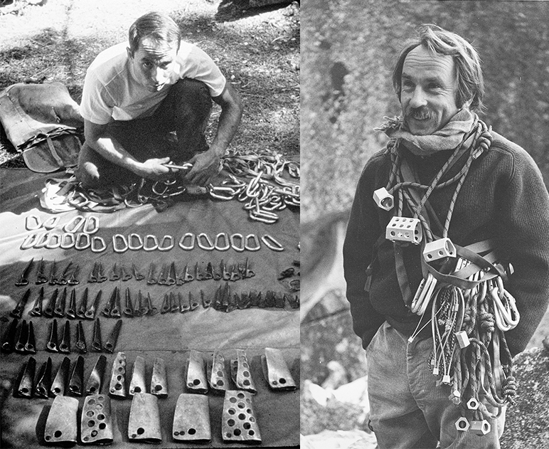 (Left) Yvon Chouinard selling his own hardware invented in Camp 4 at Yosemite National Park, California. C. 1960s. (  Right)   Chouinard with his rack of Hexentrics and Stopper clean climbing shocks   at Yosemite National Park, California. C. 1972. |   Photos courtesy of Patagonia archives