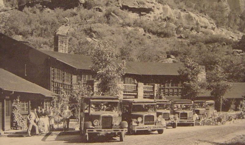 Tour busses in front of the Zion lodge. Photo by George A. Grant, c. 1929