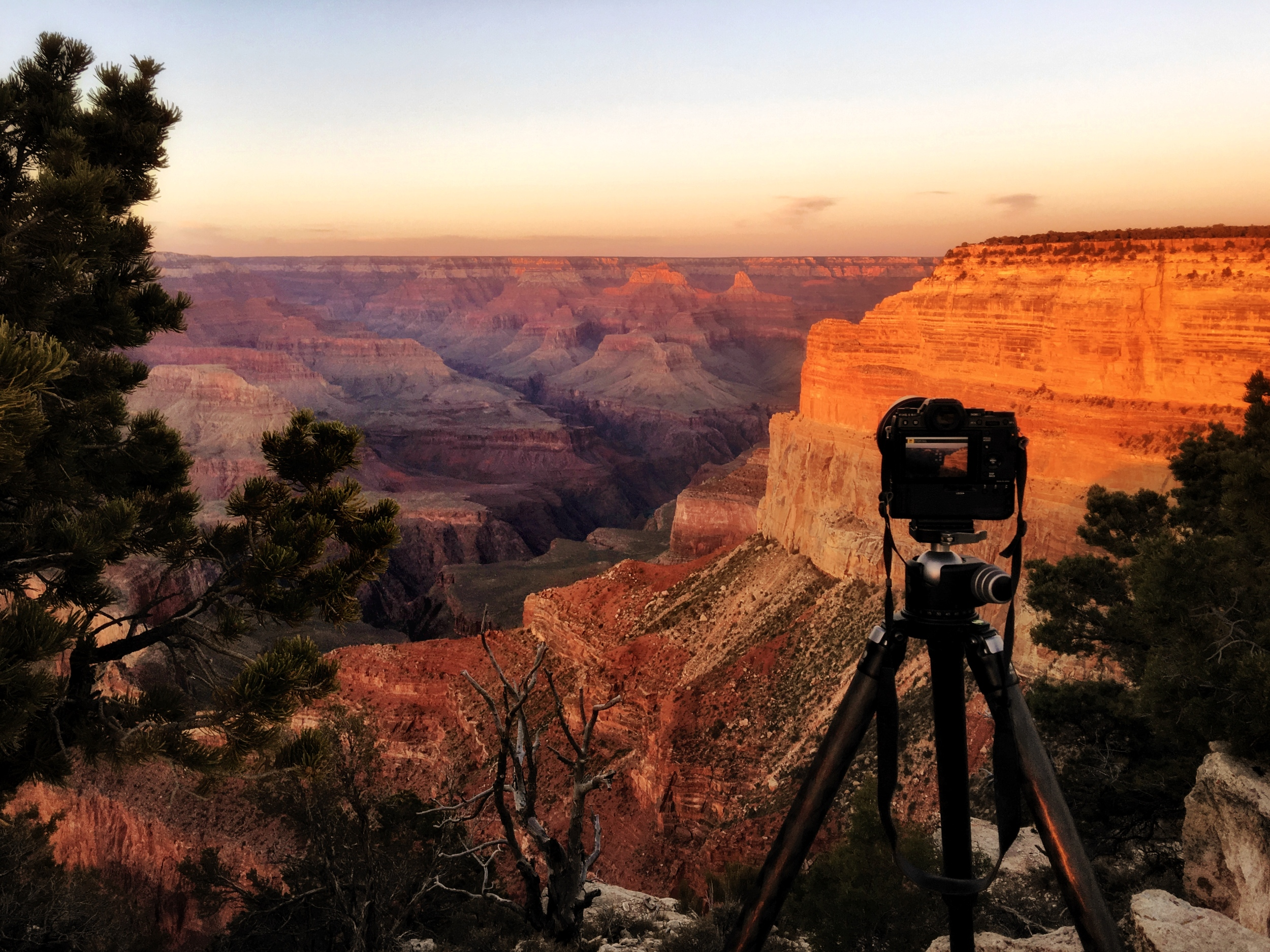 All set up at Mojave Point to capture the Grand Canyon sunset.