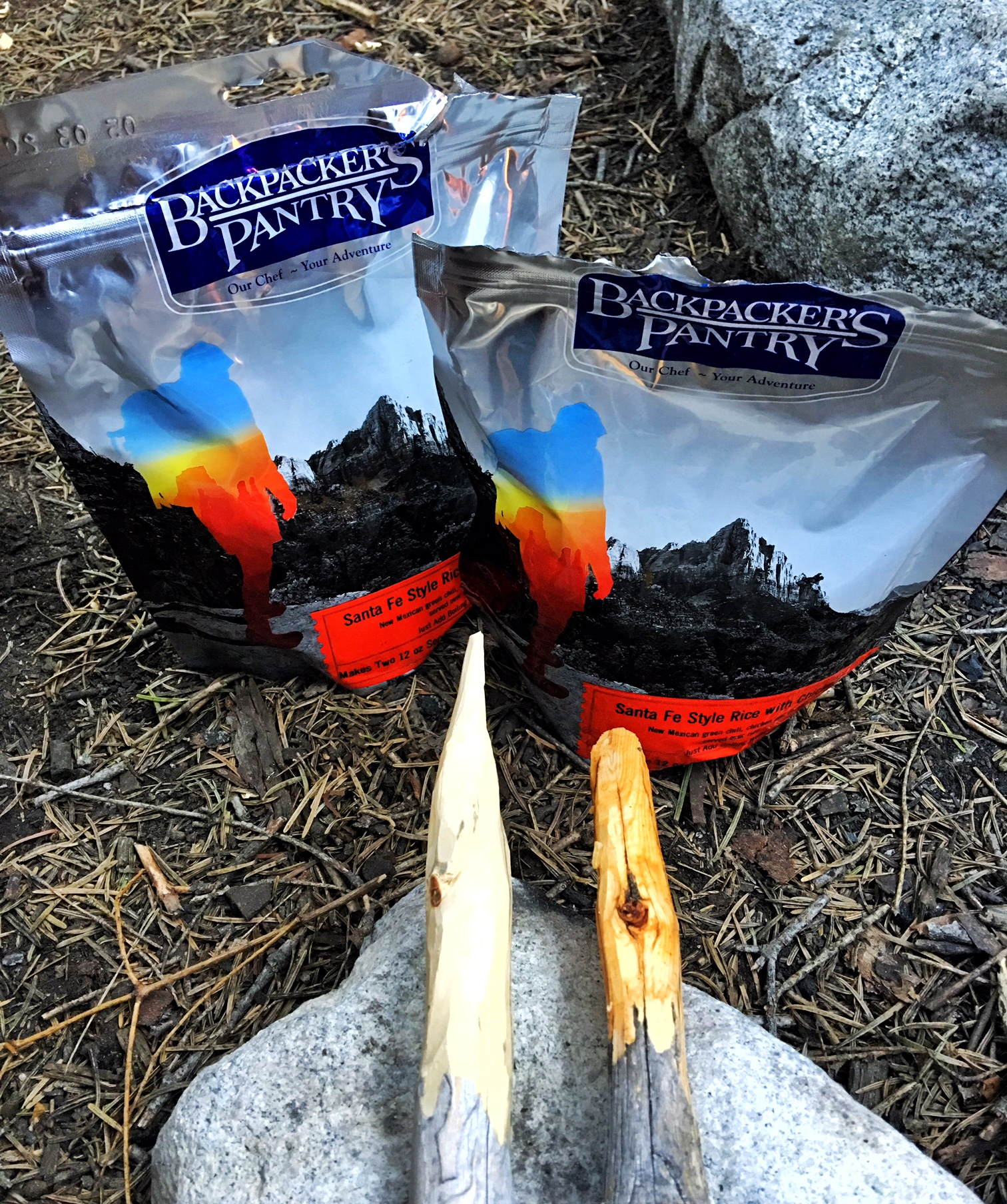 We forgot spoons so Jon made some out of sticks at Kings Canyon National Park in California. Backpackers Pantry is the best astronaut food, in our opinion.